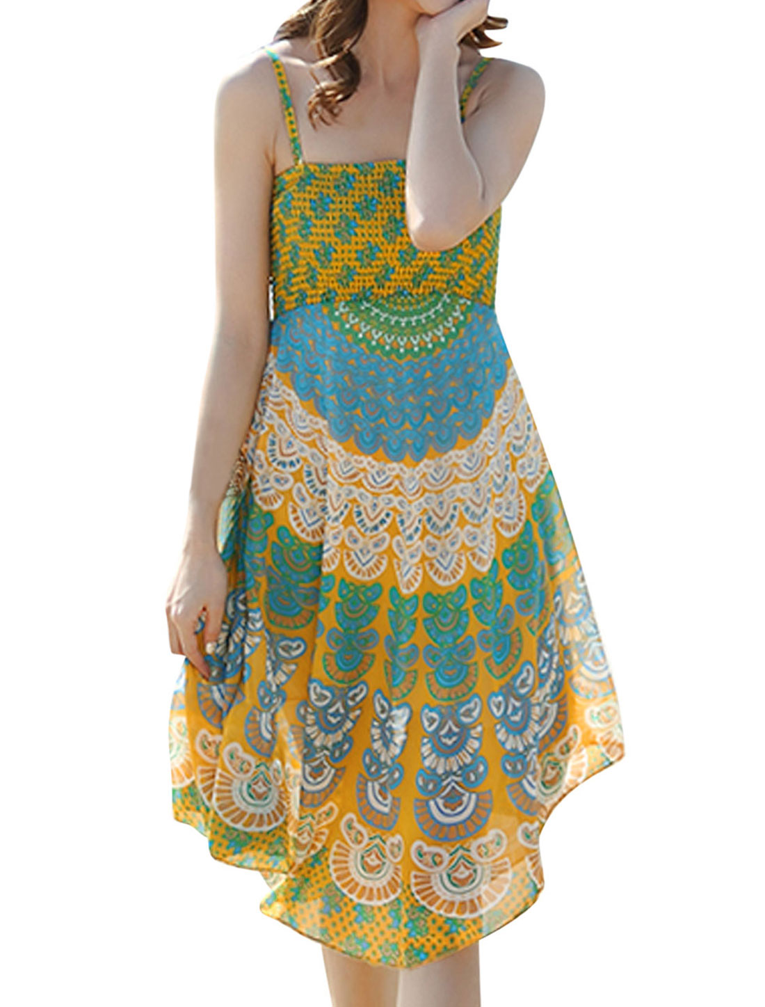 Women Peacock Feathers Pattern Chiffon Asymmetrical Hem Dress Yellow XS