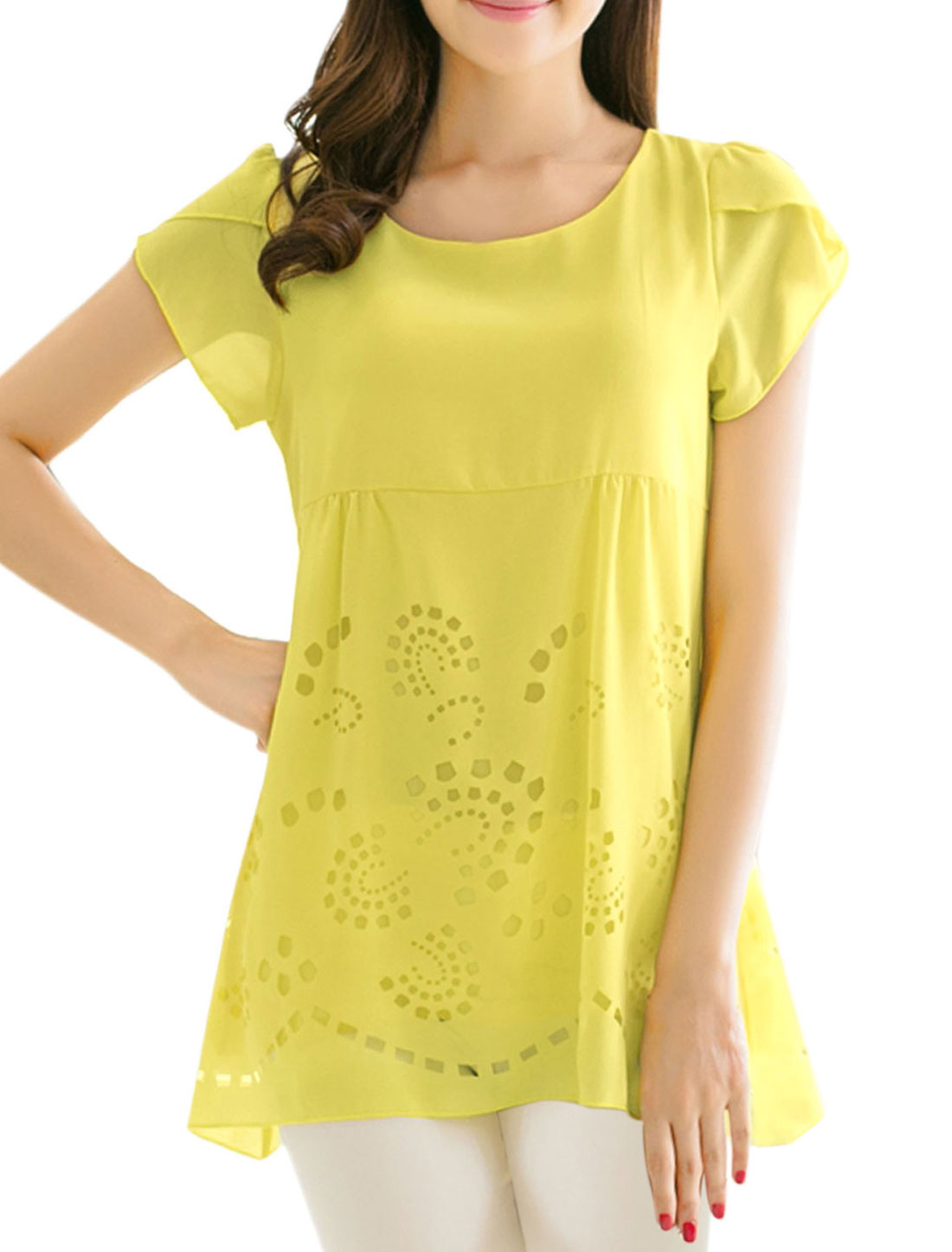 Lady Petal Sleeve Tiered Style Cut Out Design Blouse Yellow M