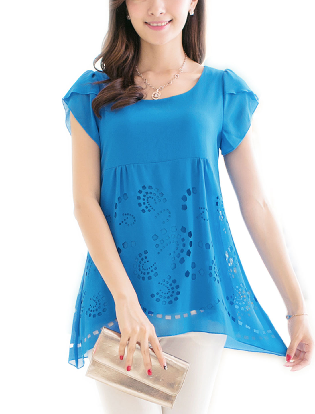 Lady Petal Sleeve Layered Style Cut Out Design Blouse Sea Blue M