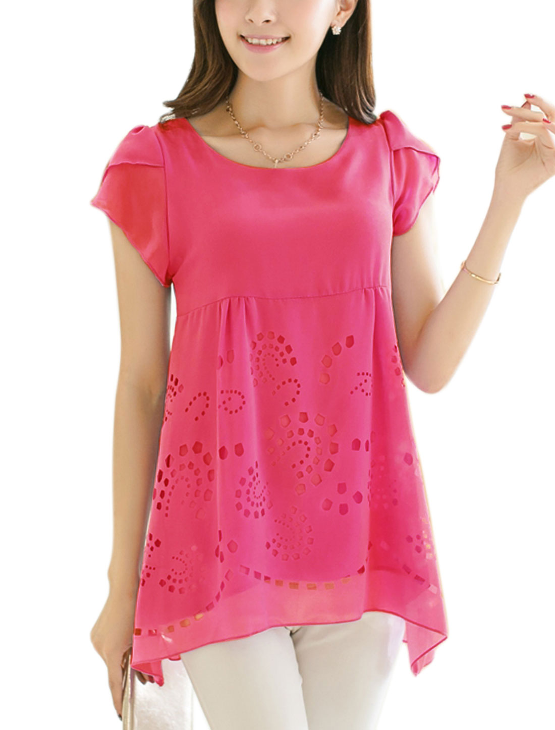 Lady Pullover Petal Sleeve Tiered Style Cut Out Design Blouse Fuchsia M