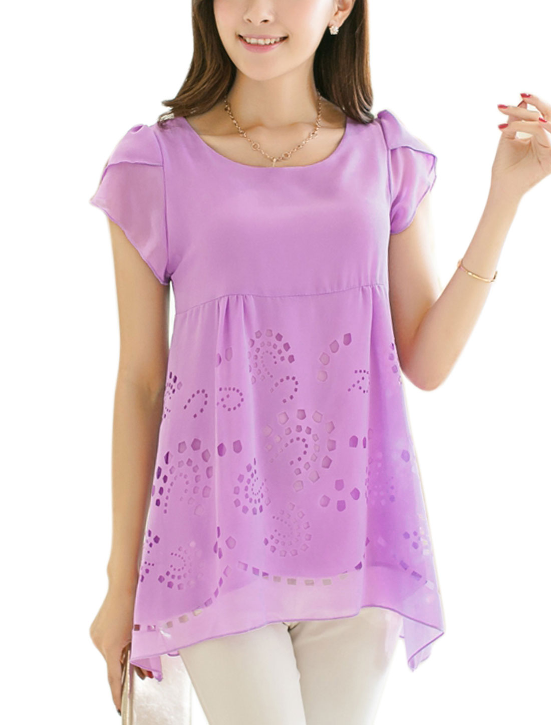 Lady Elegant Petal Sleeve Tiered Style Cut Out Design Blouse Lavender M