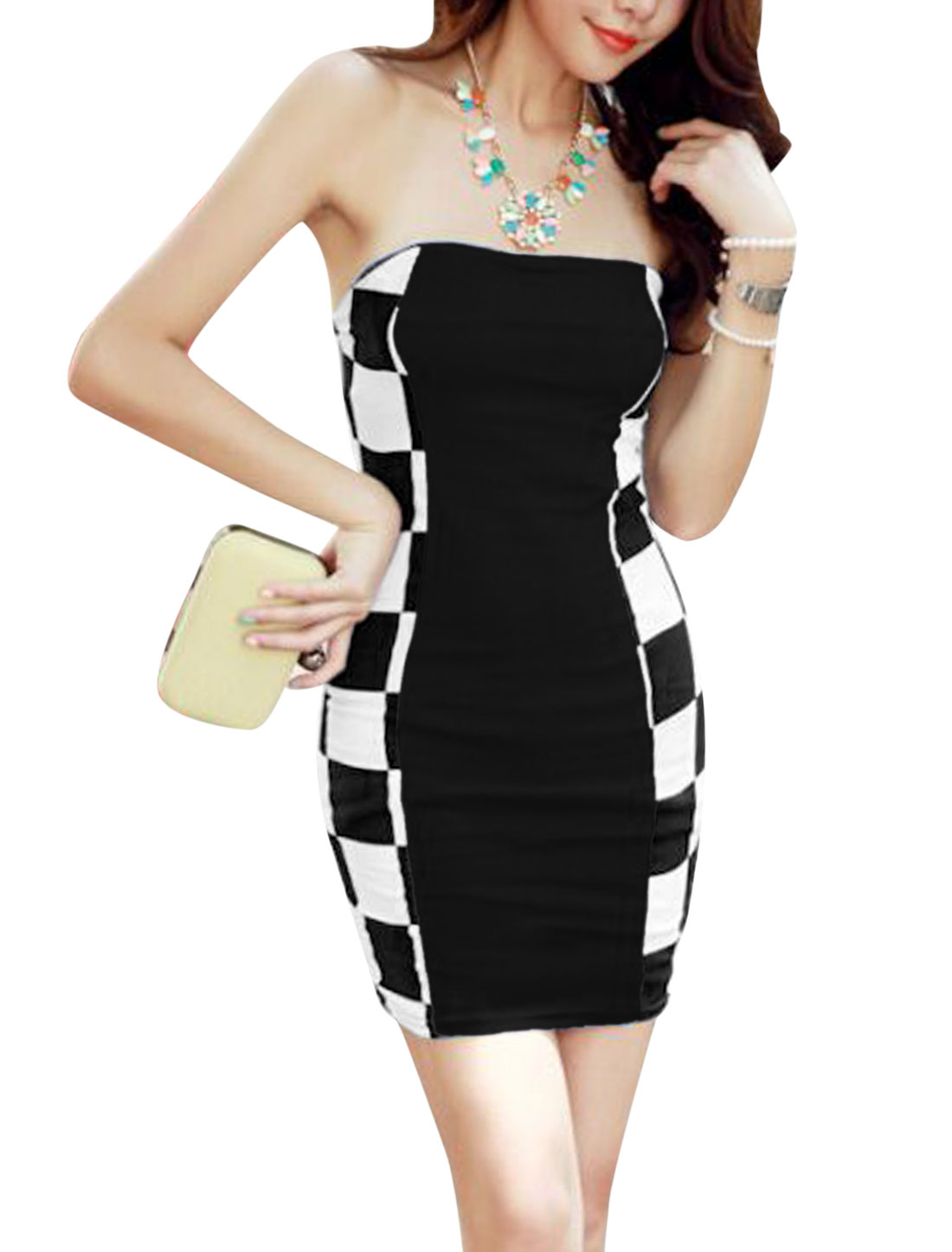 Lady Strapless Padded Bust Plaids Colorblock Sexy Sheath Dress Black XS