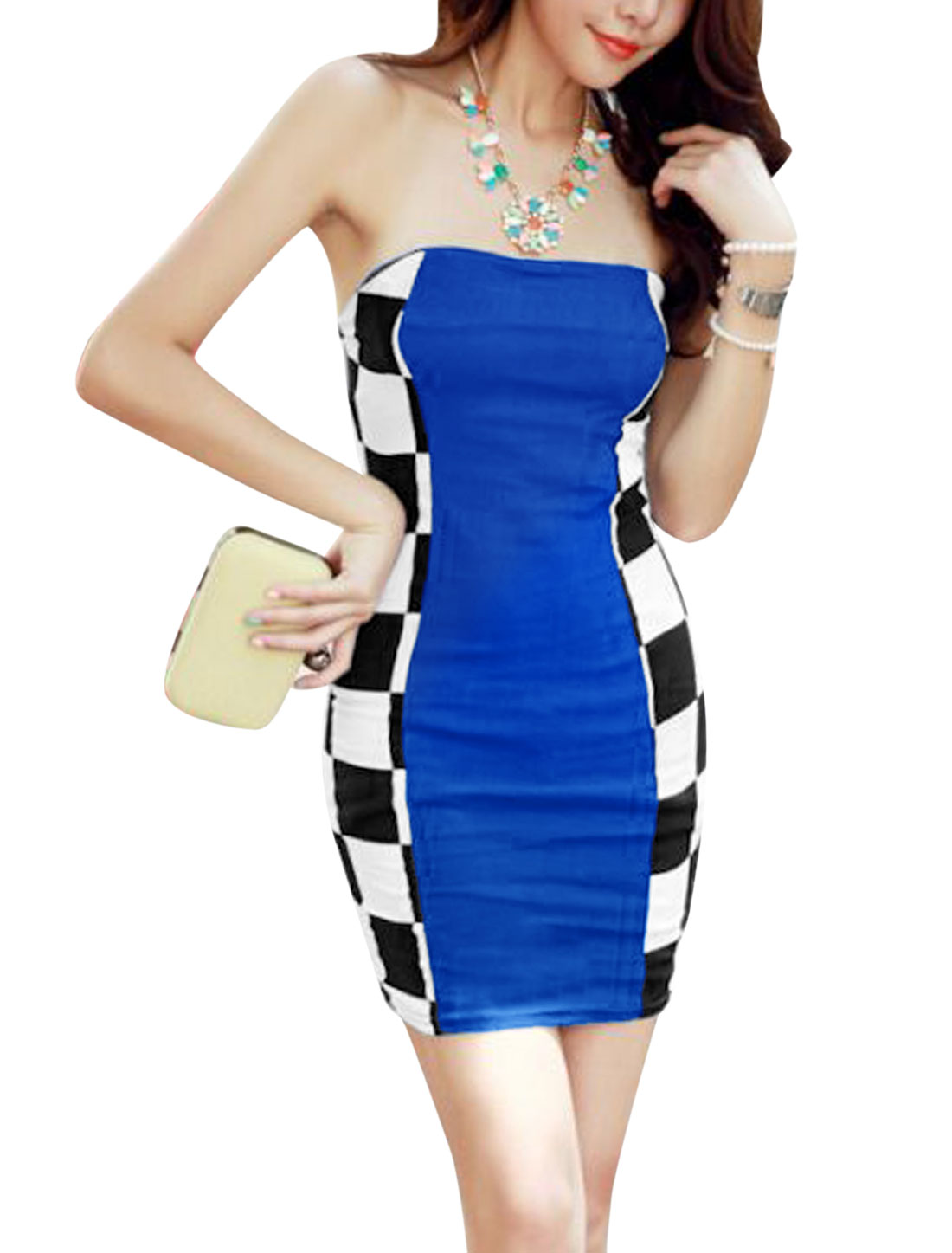 Lady Strapless Elastic Back Plaids Colorblock Sheath Dress Royal Blue XS