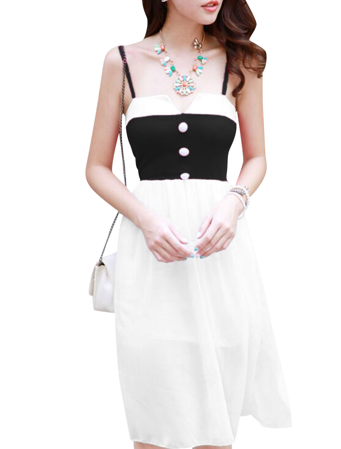 Lady Spaghetti Strap Split Detail Chiffon Overlay Dress White Black XS
