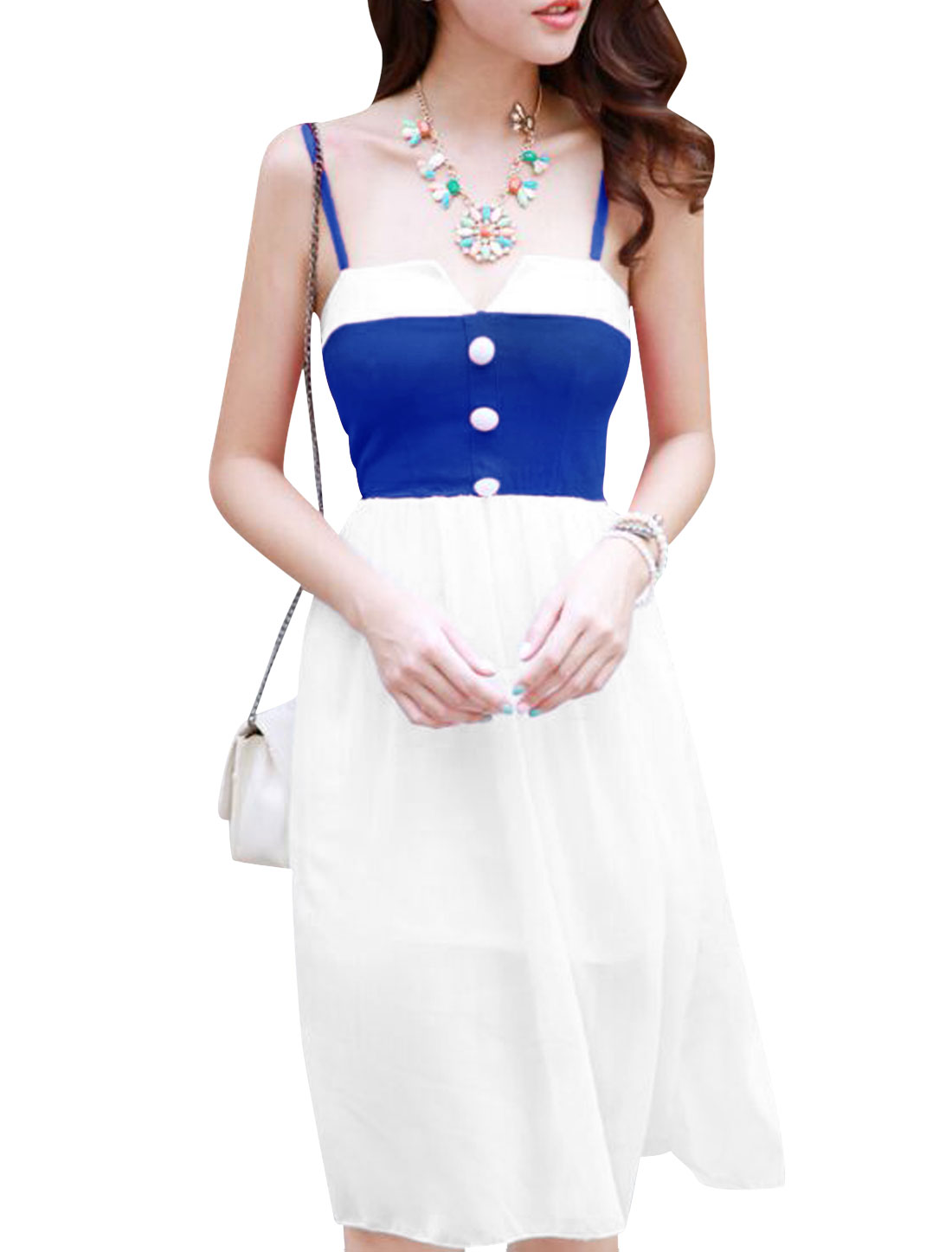 Lady Spaghetti Strap Buttons Decor Contrast Color Dress White Royal Blue XS