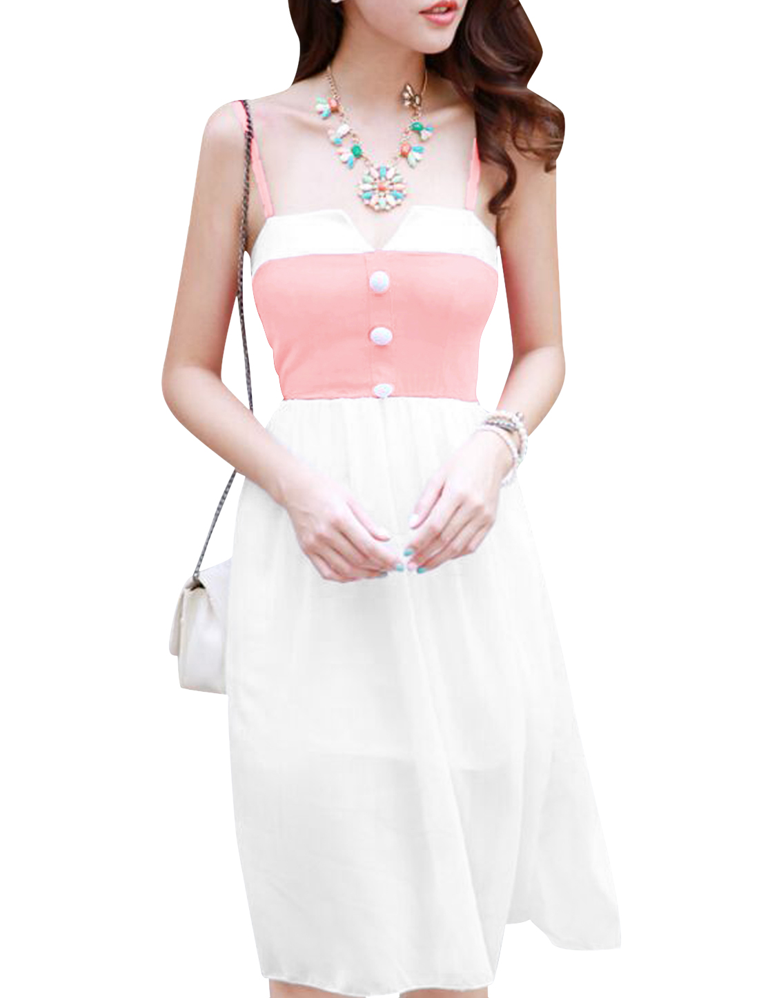 Lady Spaghetti Strap Buttons Decor Chiffon Overlay Dress White Pink XS