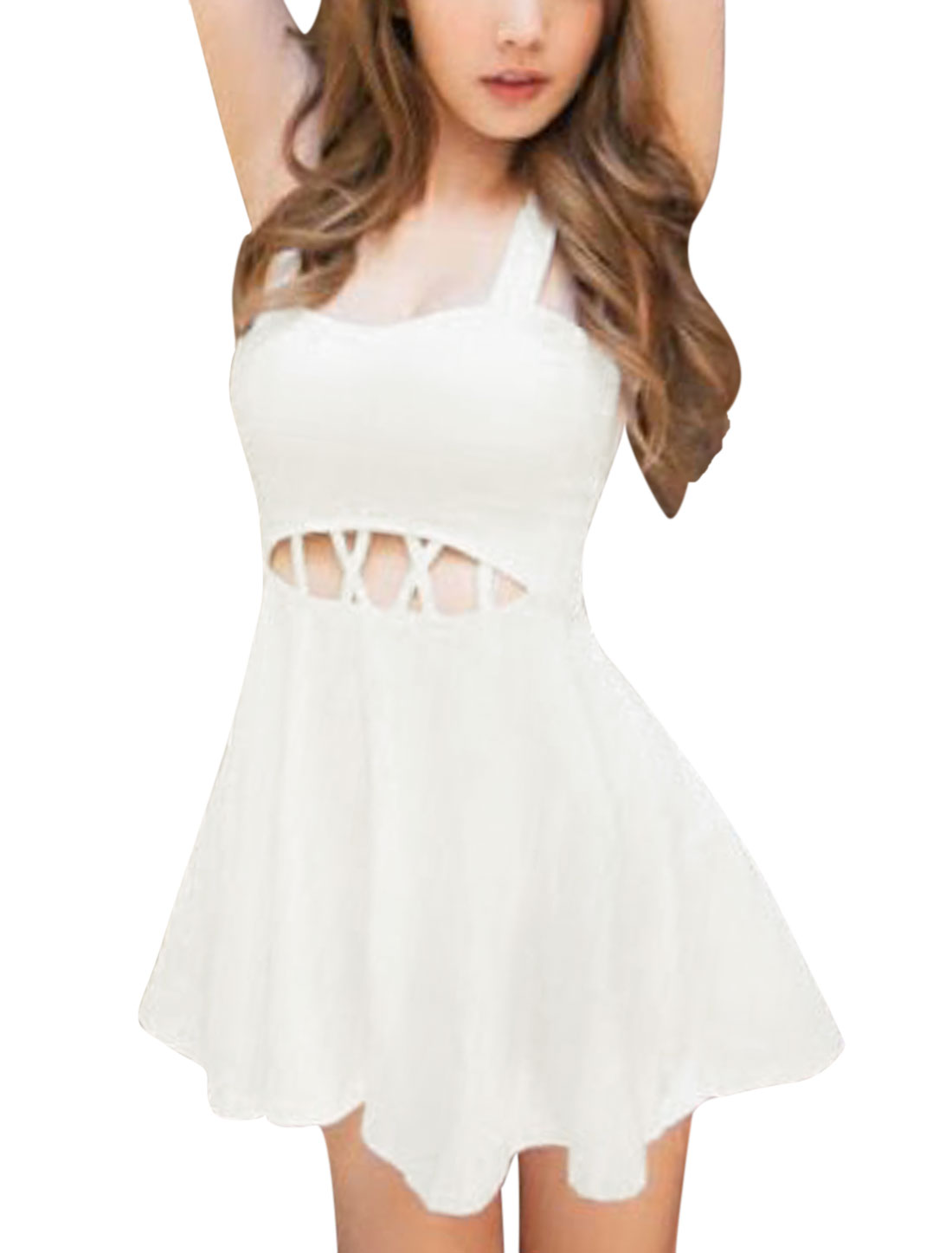 Lady Slim Fit Cross Waist Cut Out Design Sexy Skater Dress White XS