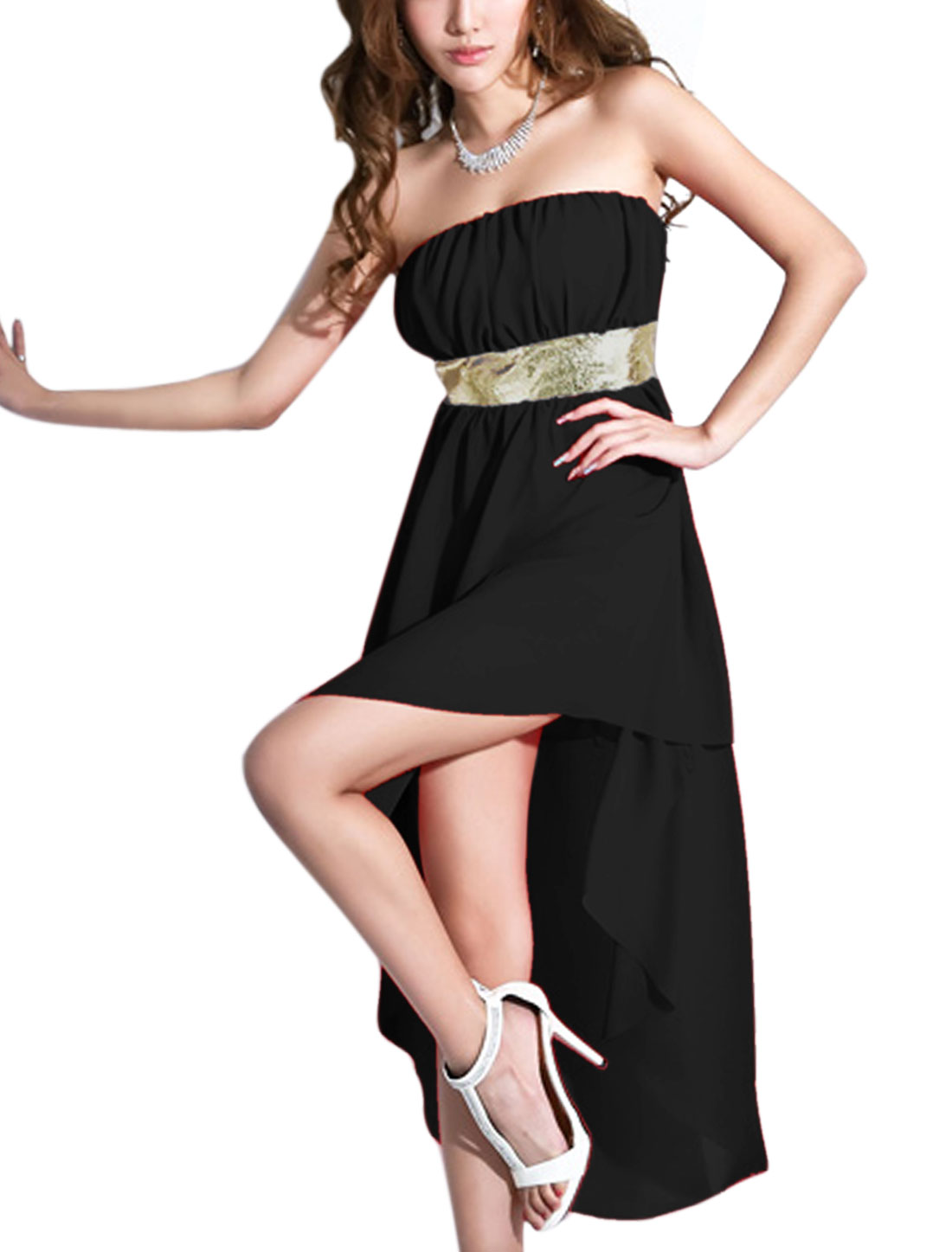 Lady Strapless High Low Hem Chiffon Corset Dress Black XS
