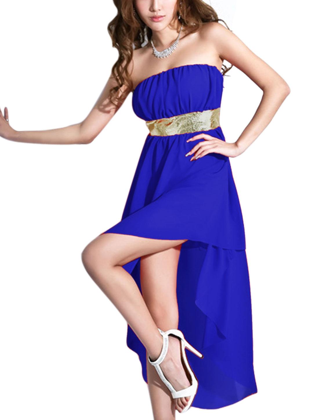Lady Ruched Detail Full Lined Sexy Chiffon Corset Dress Royal Blue XS