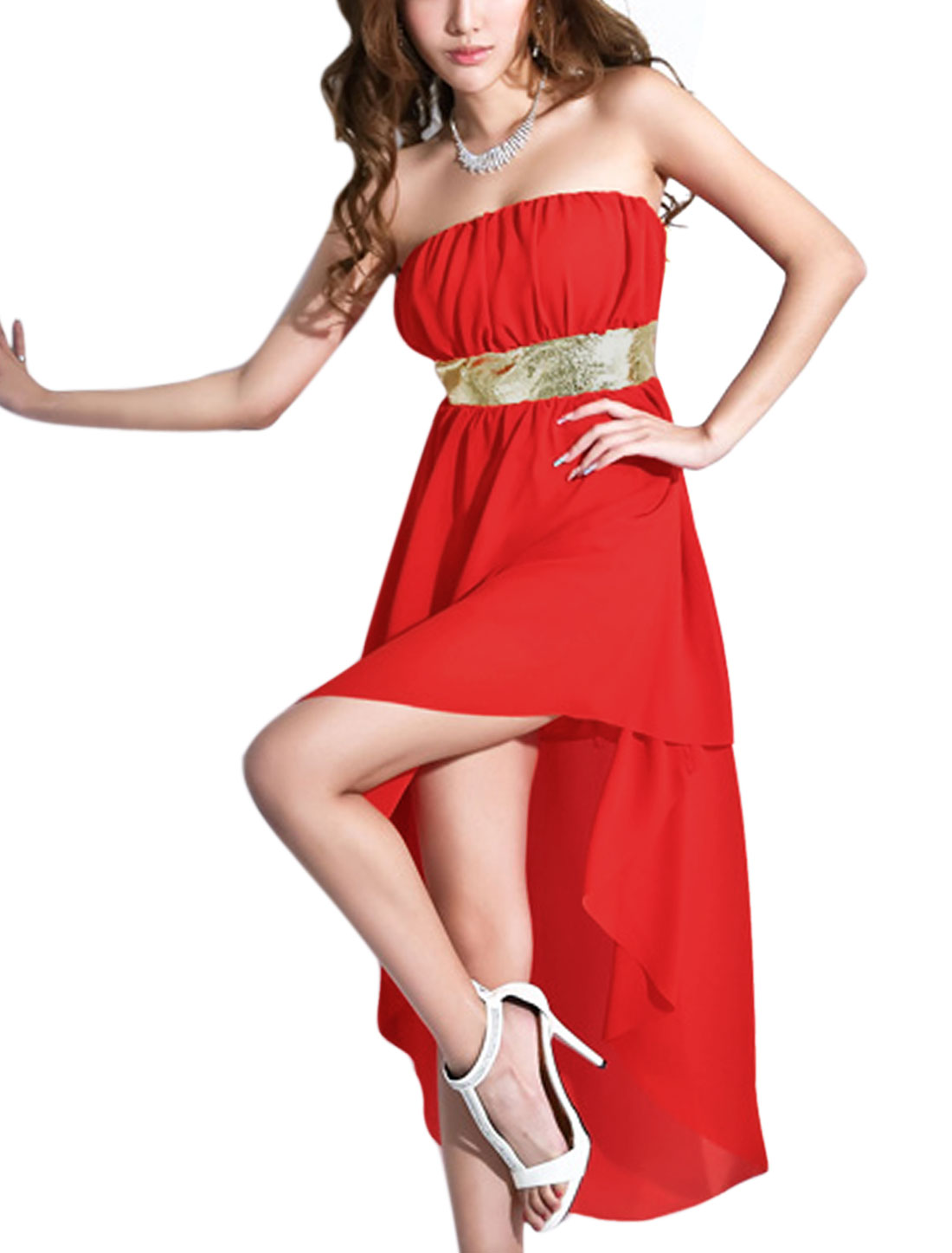 Lady Stretch Waist Glitter Detail Full Lined Chiffon Corset Dress Red XS