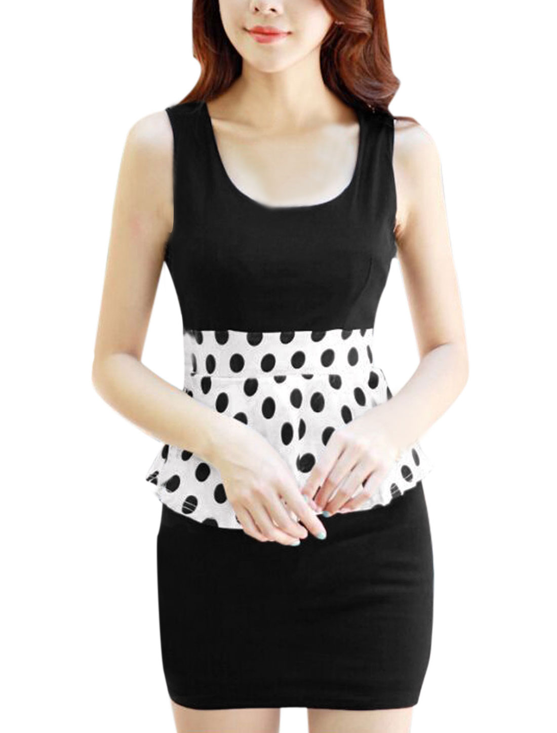 Lady Sleeveless Elastic Waist Dots Prints Colorblock Peplum Dress Black XS