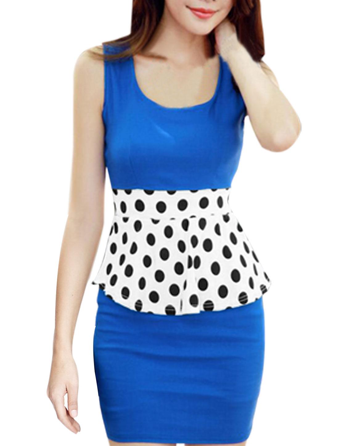 Lady Stretchy Waist Dots Prints Colorblock Peplum Dress Royal Blue XS