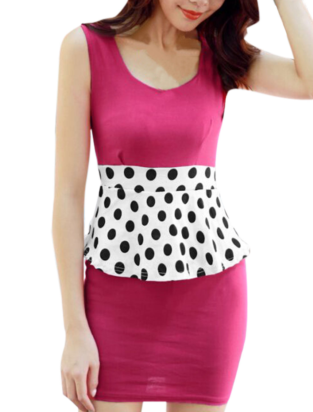 Lady Elegant Elastic Waist Dots Prints Colorblock Peplum Dress Fuchsia XS