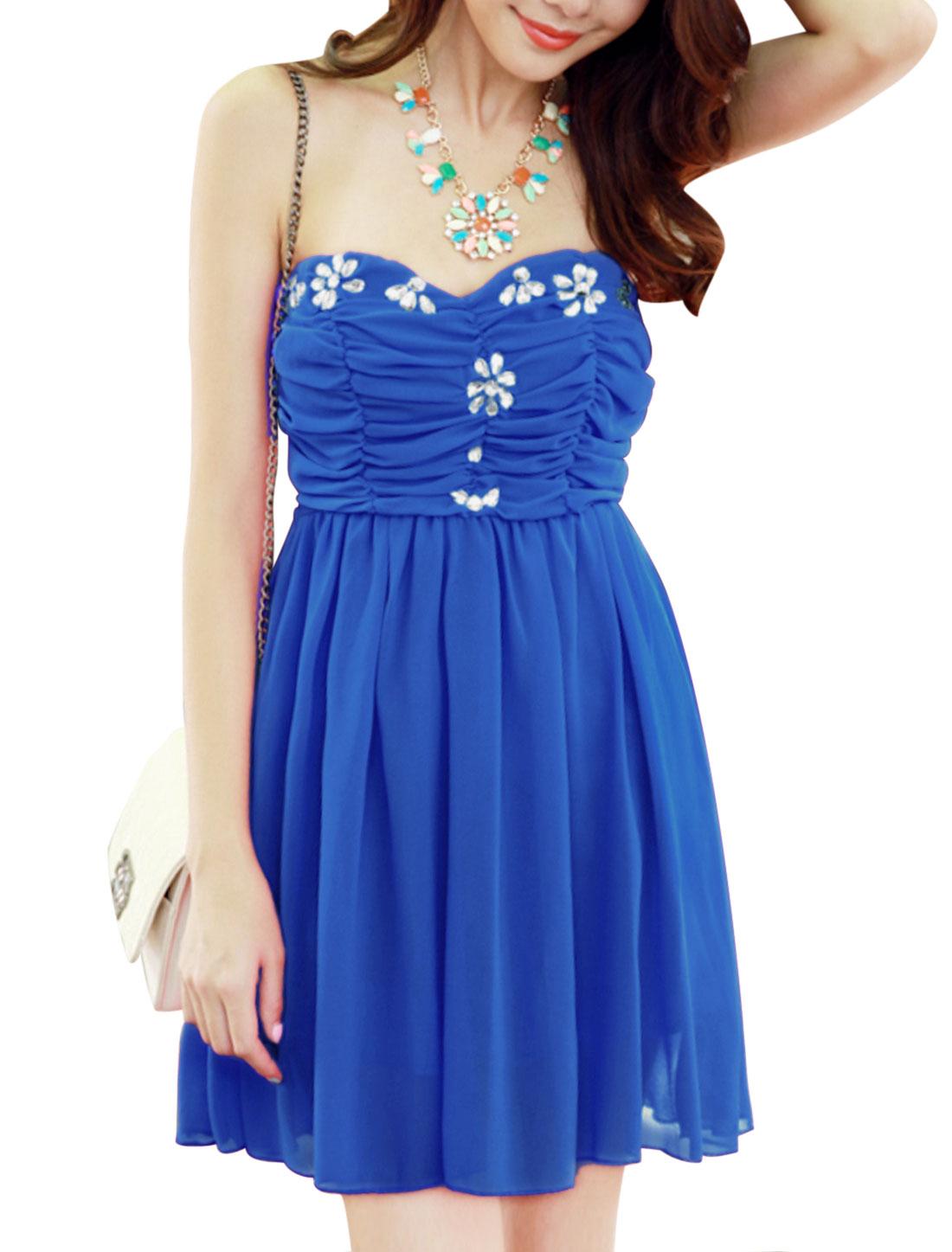 Women Ruched Front Plastic Crystal Decor Elegant Strapless Dress Royal Blue XS