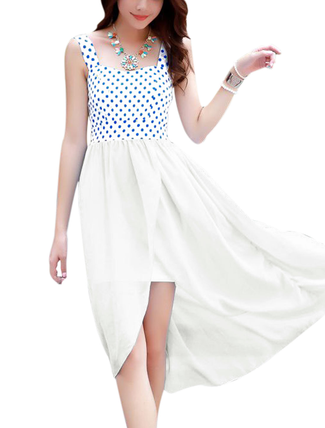Lady Shoulder Straps Padded Bust Dots Prints Chiffon Panel Dress White XS