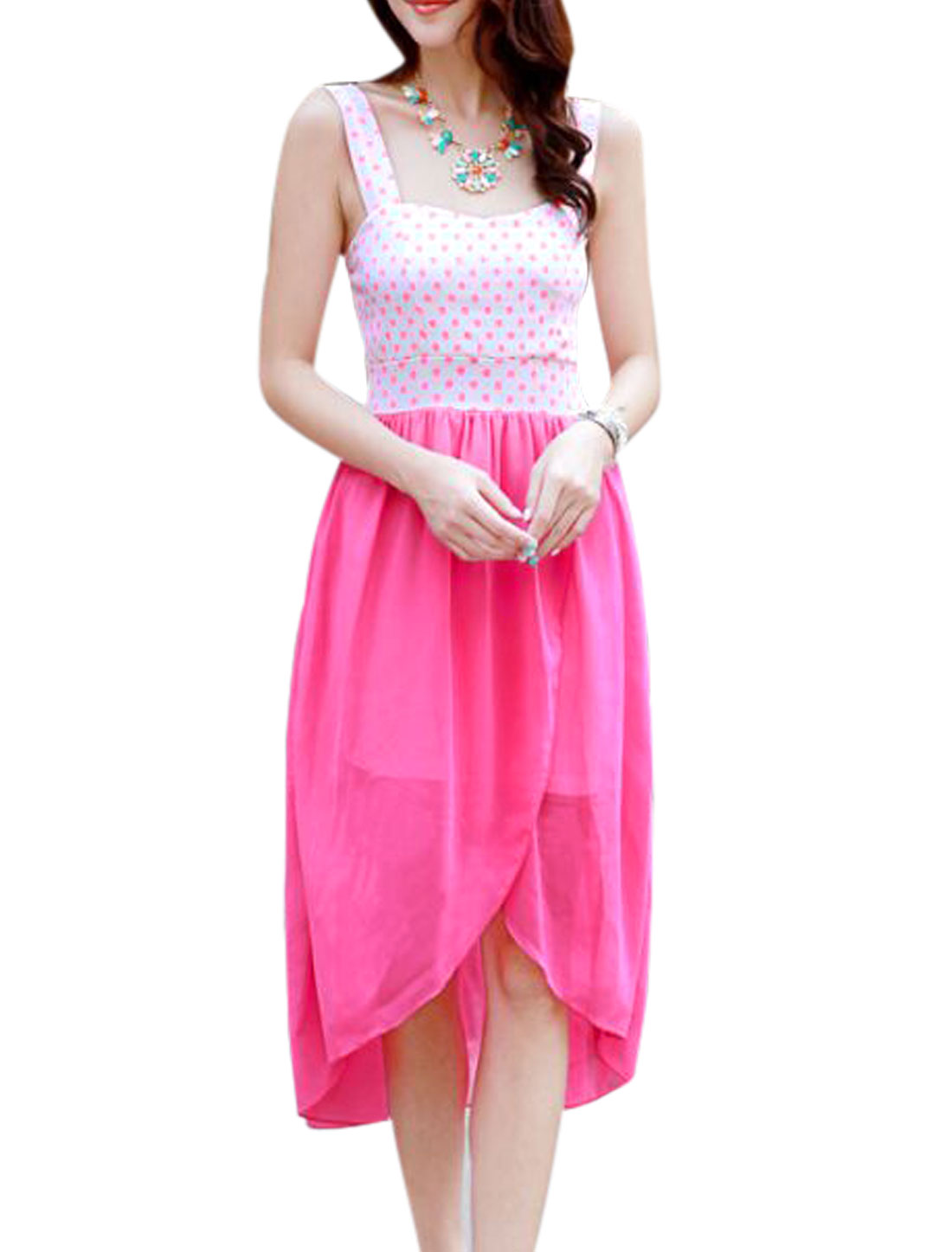 Lady Elegant Padded Bust Dots Prints Chiffon Panel Dress Fuchsia XS