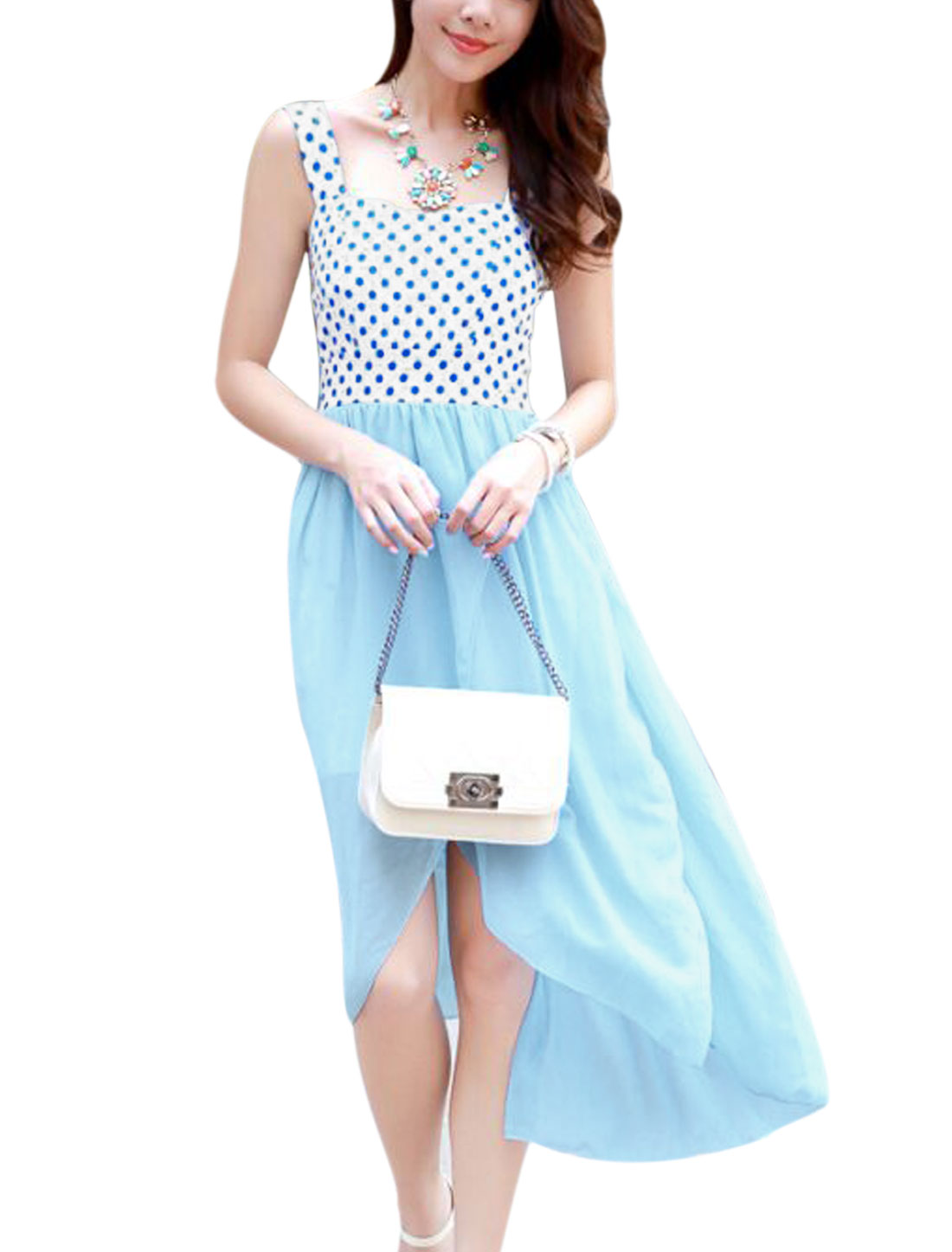 Lady High Low Hem Dots Prints Chiffon Panel Dress Light Blue XS