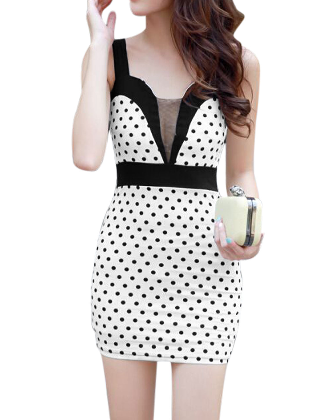 Women Spaghetti Strap Mesh Panel Dots Prints Sheath Dress White XS