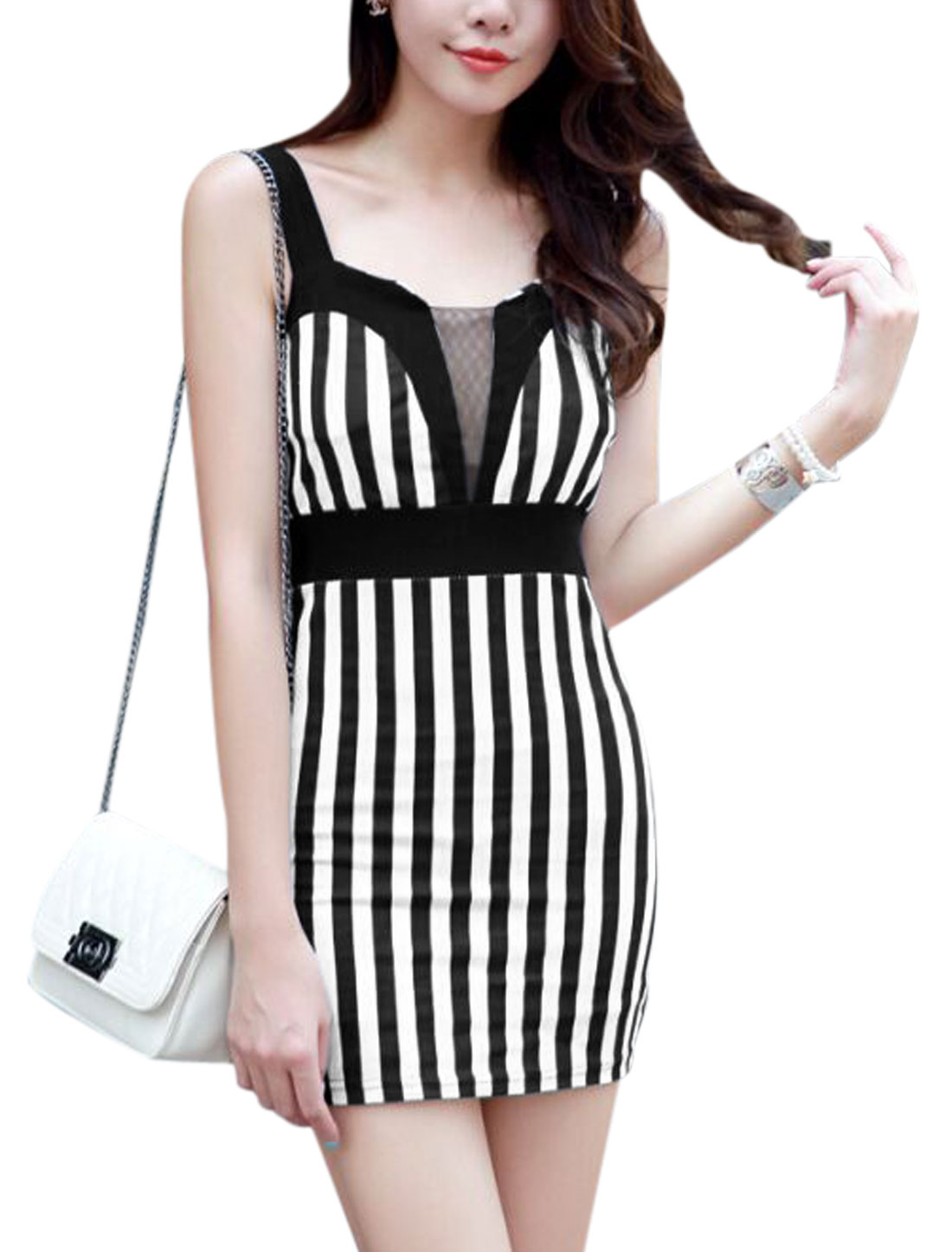 Women Spaghetti Strap Mesh Panel Stripes Sheath Dress Black White XS