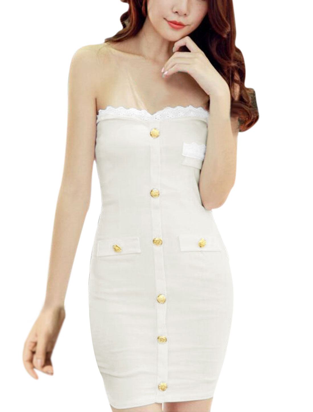 Lady Strapless Buttons Decor Crochet Patched Mini Sheath Dress White XS