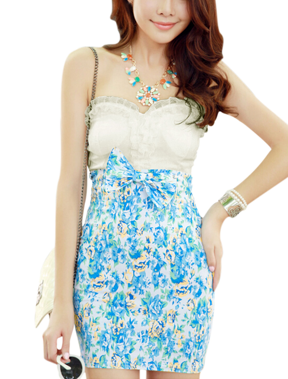 Lady Strapless Padded Bust Bowknot Decor Floral Prints Mini Dress White Blue XS