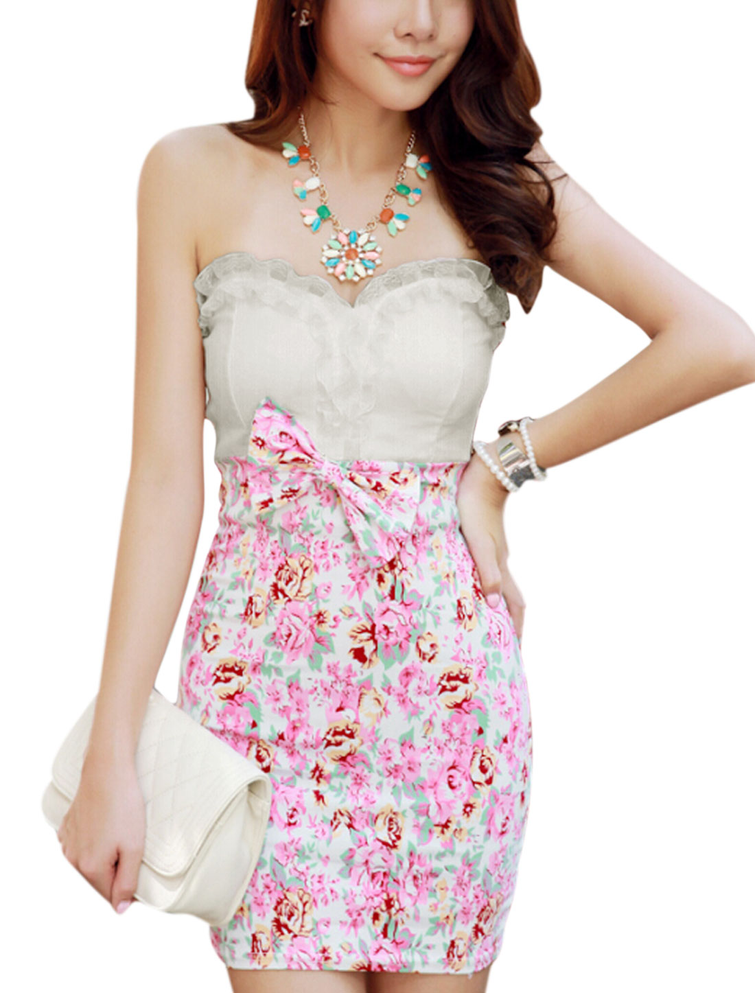 Lady Strapless Bowknot Decor Floral Prints Sexy Dress White Pink XS