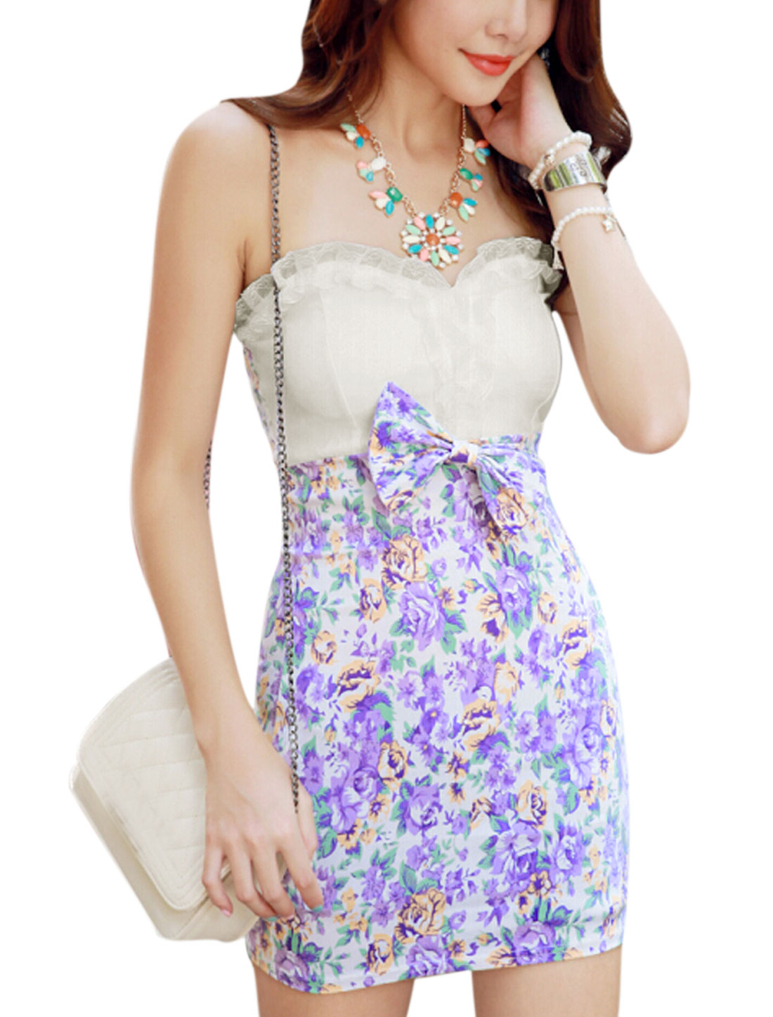 Lady Strapless Padded Bust Flower Pattern Mini Dress White Lavender XS