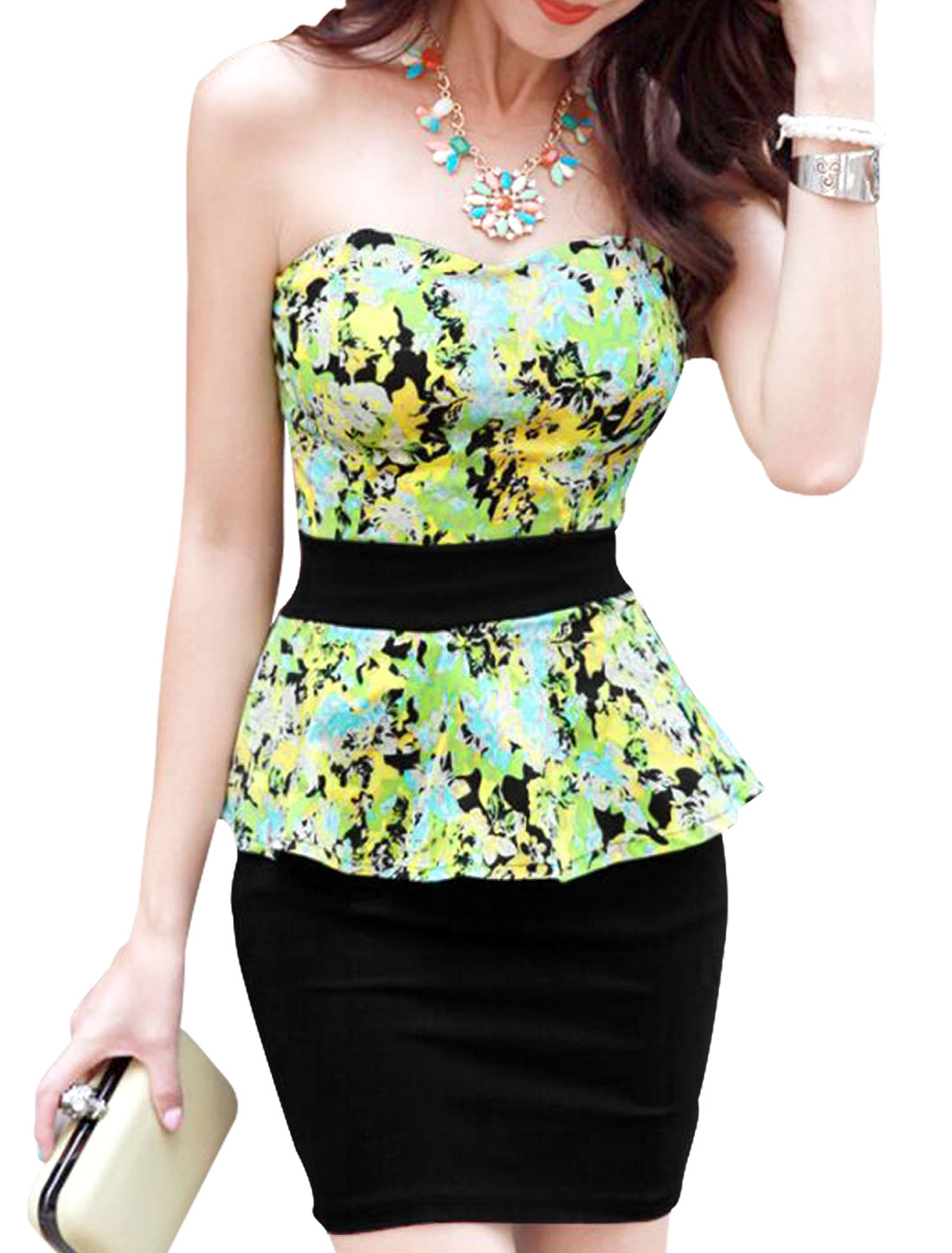 Lady Strapless Floral Prints Cut Out Back Sexy Peplum Dress Black Yellow XS