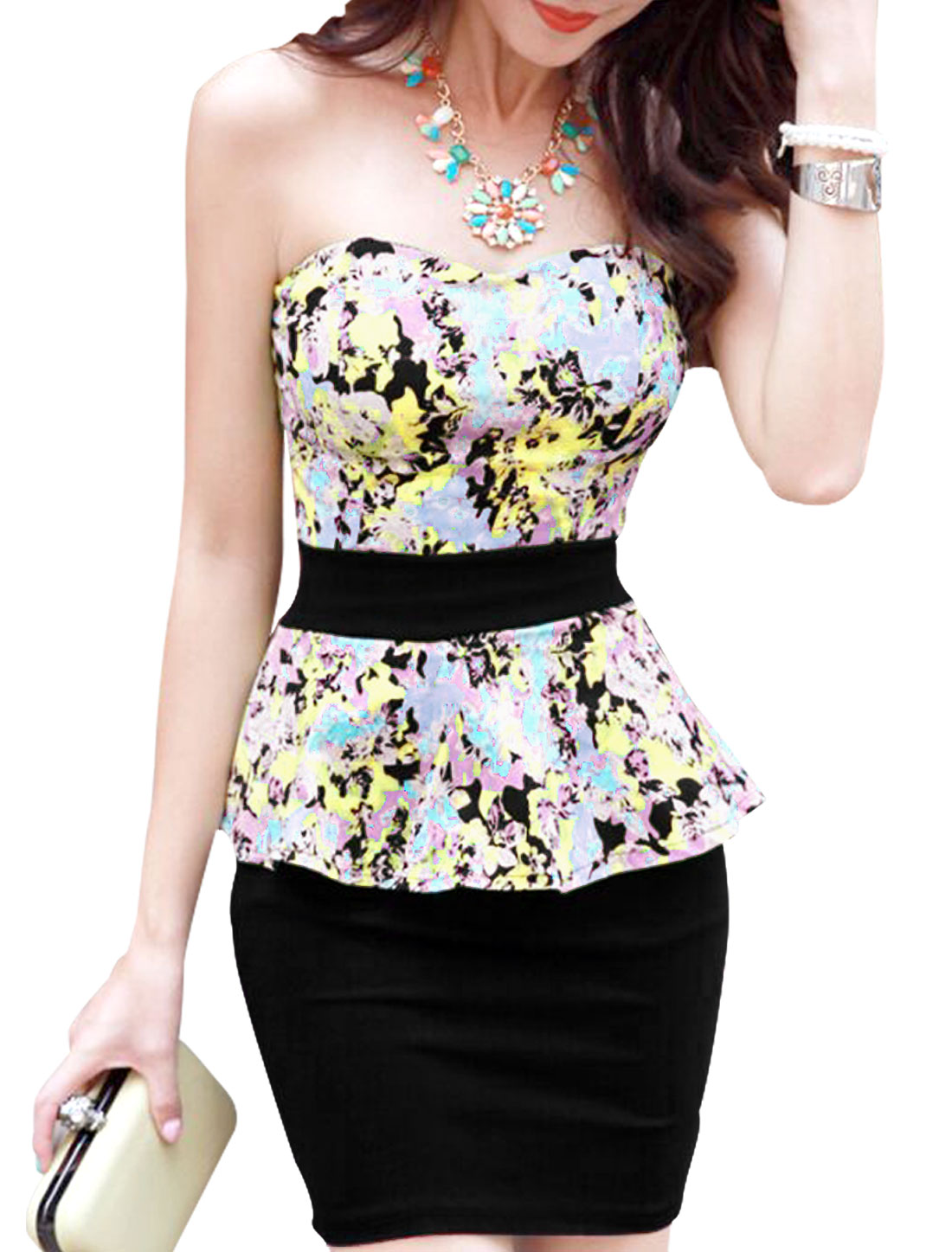 Lady Strapless Flower Pattern Cut Out Back Sexy Peplum Dress Black Pink XS