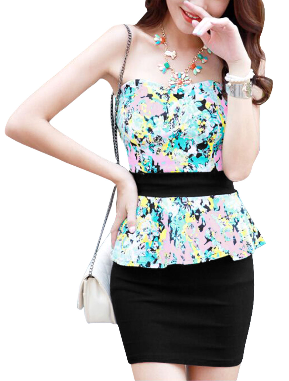Lady Zip Fly Back Floral Prints Cut Out Back Peplum Dress Black Sea Blue XS