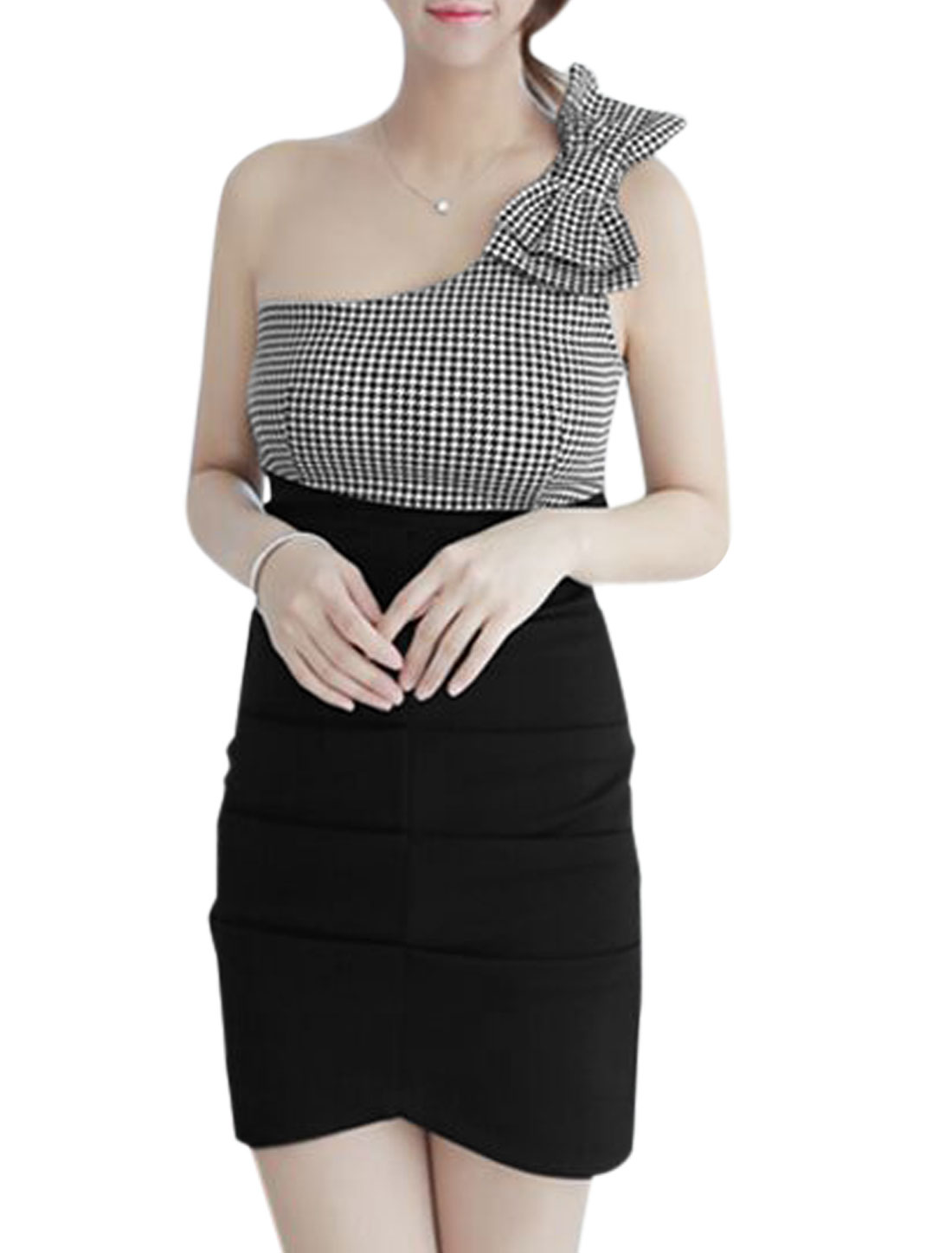 Lady One Shoulder Houndstooth Pattern Bowknot Decor Sheathy Dress Black XS