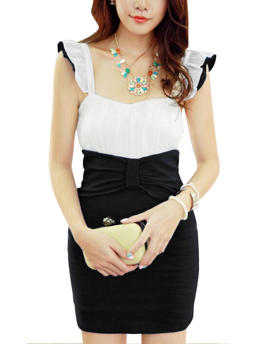 Lady Ruffled Tiered Shoulder Straps Chiffon Splicing Dress Black XS
