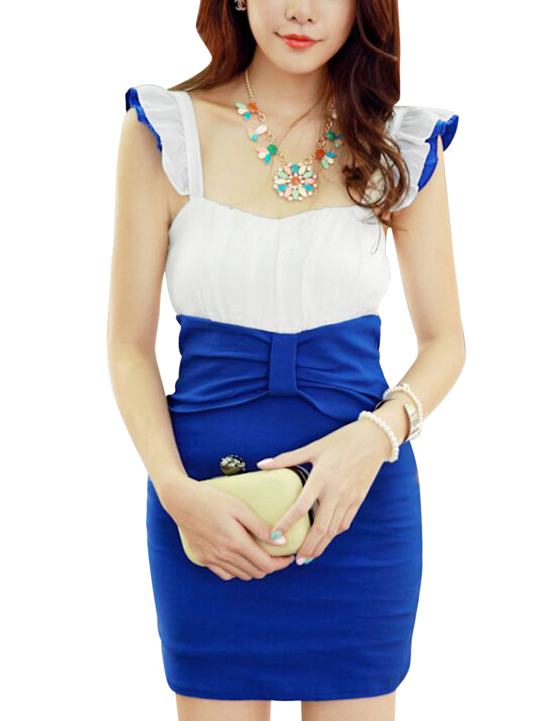 Ladies Bowknot Accent Gathered Detail Dress Royal Blue XS