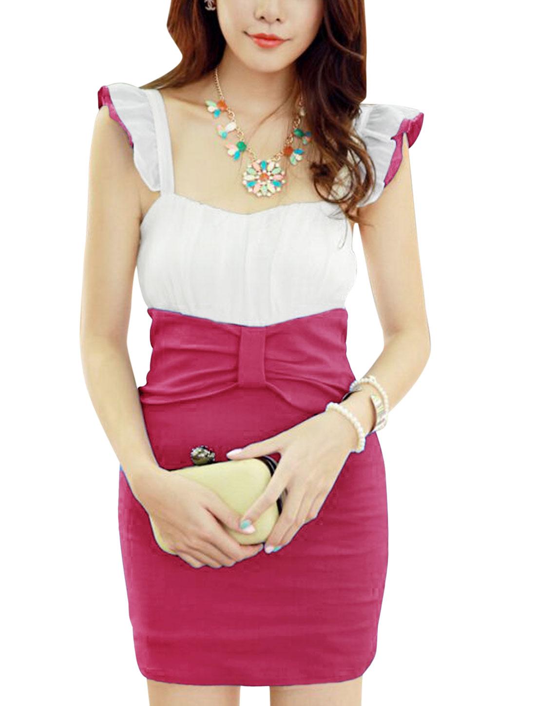 Ladies Stylish Sleeveless Chiffon Splicing Dress Fuchsia XS