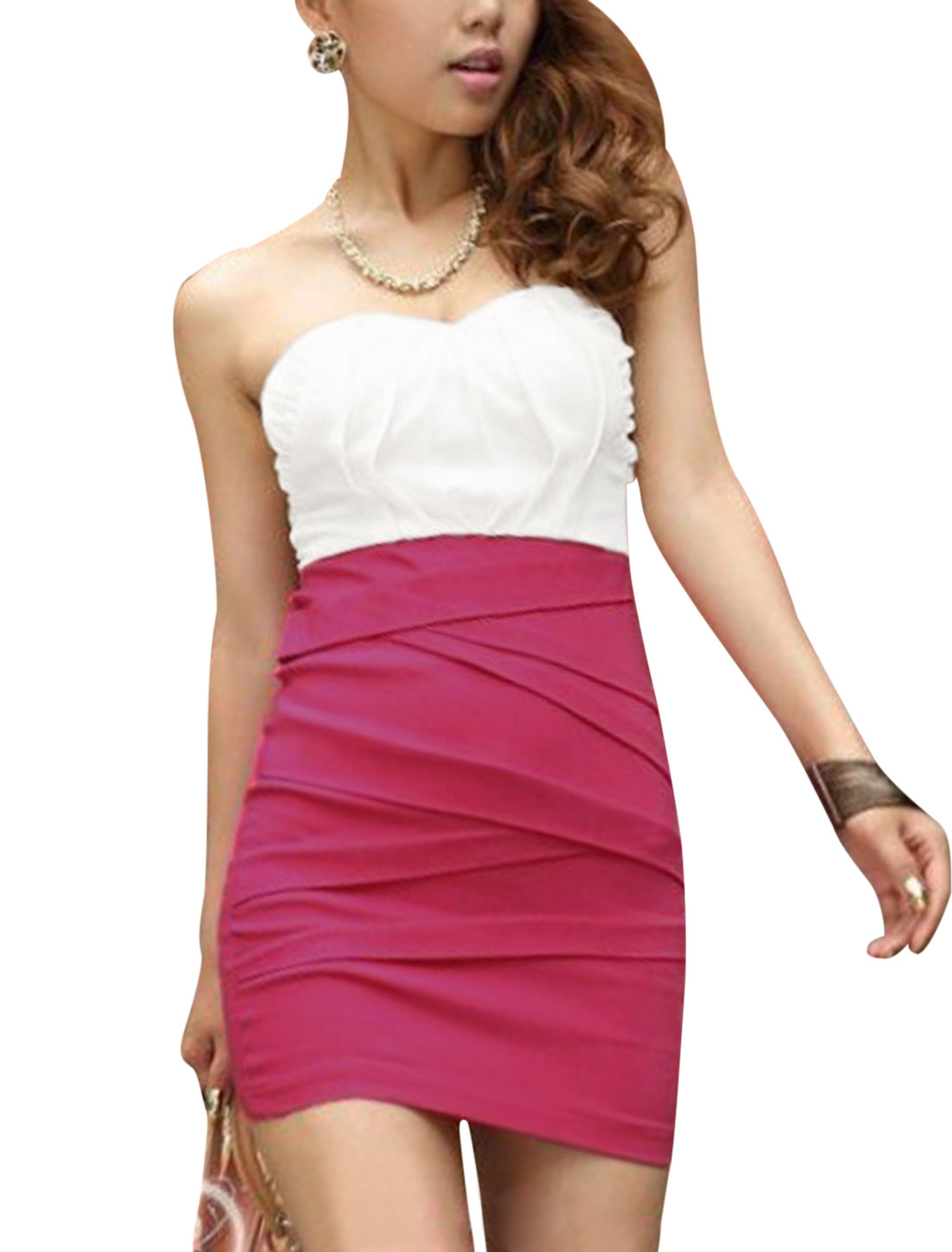 Ladies Stretchy Bust Chiffon Splice Corset Dress White Fuchsia XS
