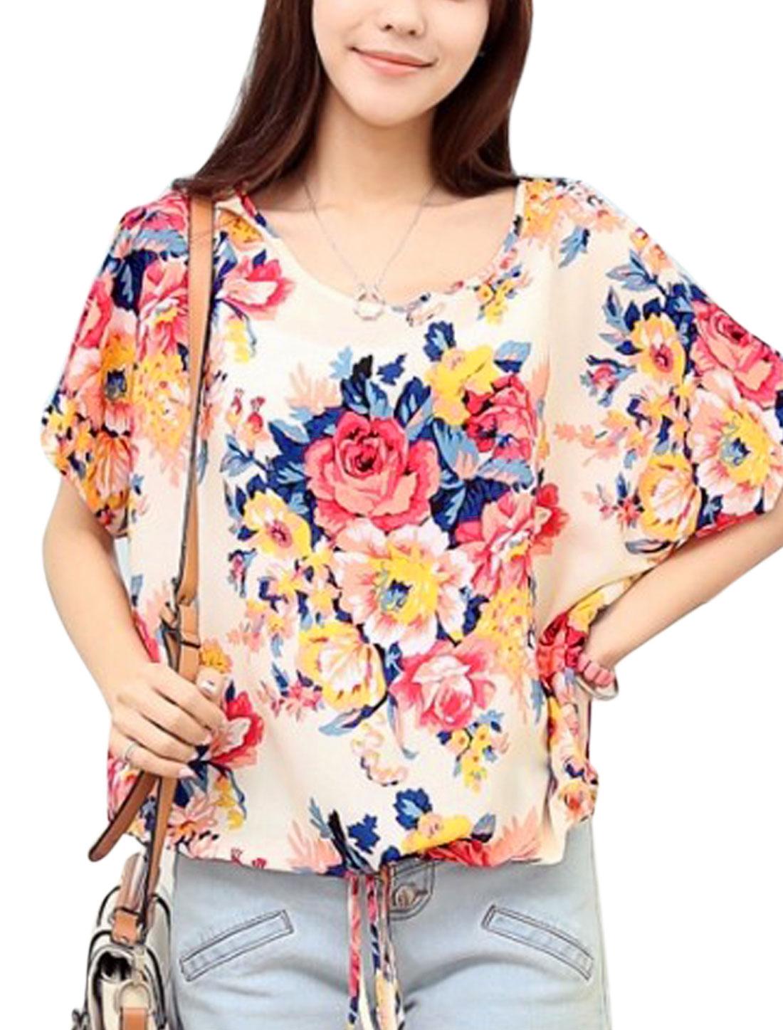 Ladies Short Batwing Sleeve Flower Pattern Sweet Blouse Beige M
