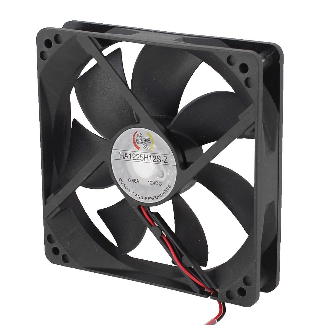 0.58A DC12V Sleeve Bearing 2pole PC Desktop Cooling Cooler Fan 120mm