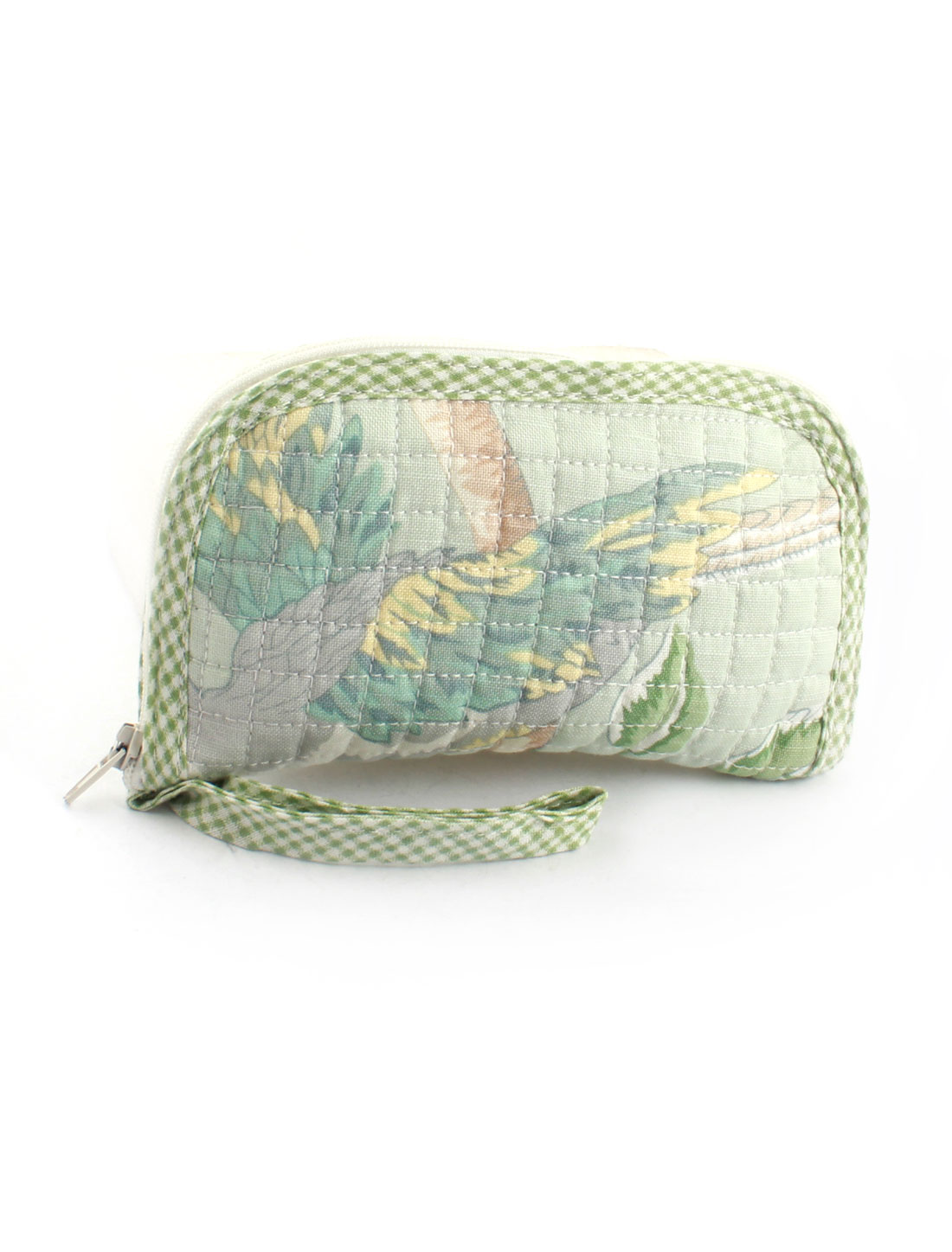 Women Cotten Blends Plaids Leaves Pattern Zip Up Coin Wrist Wallet Purse Green