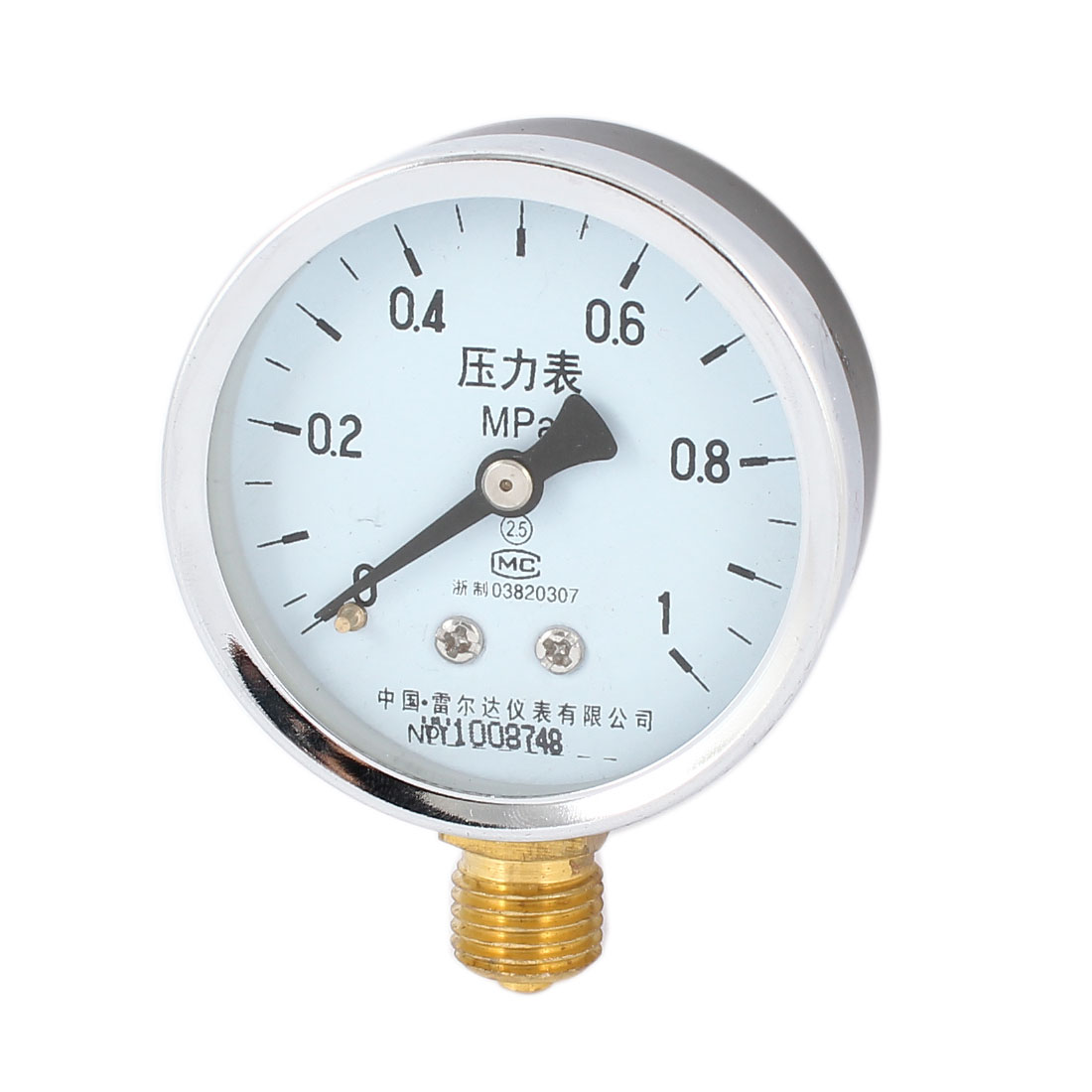 0-1 MPa 14mm Male Threaded Pneumatic Pressure Gauge Black Silver Gold Tone