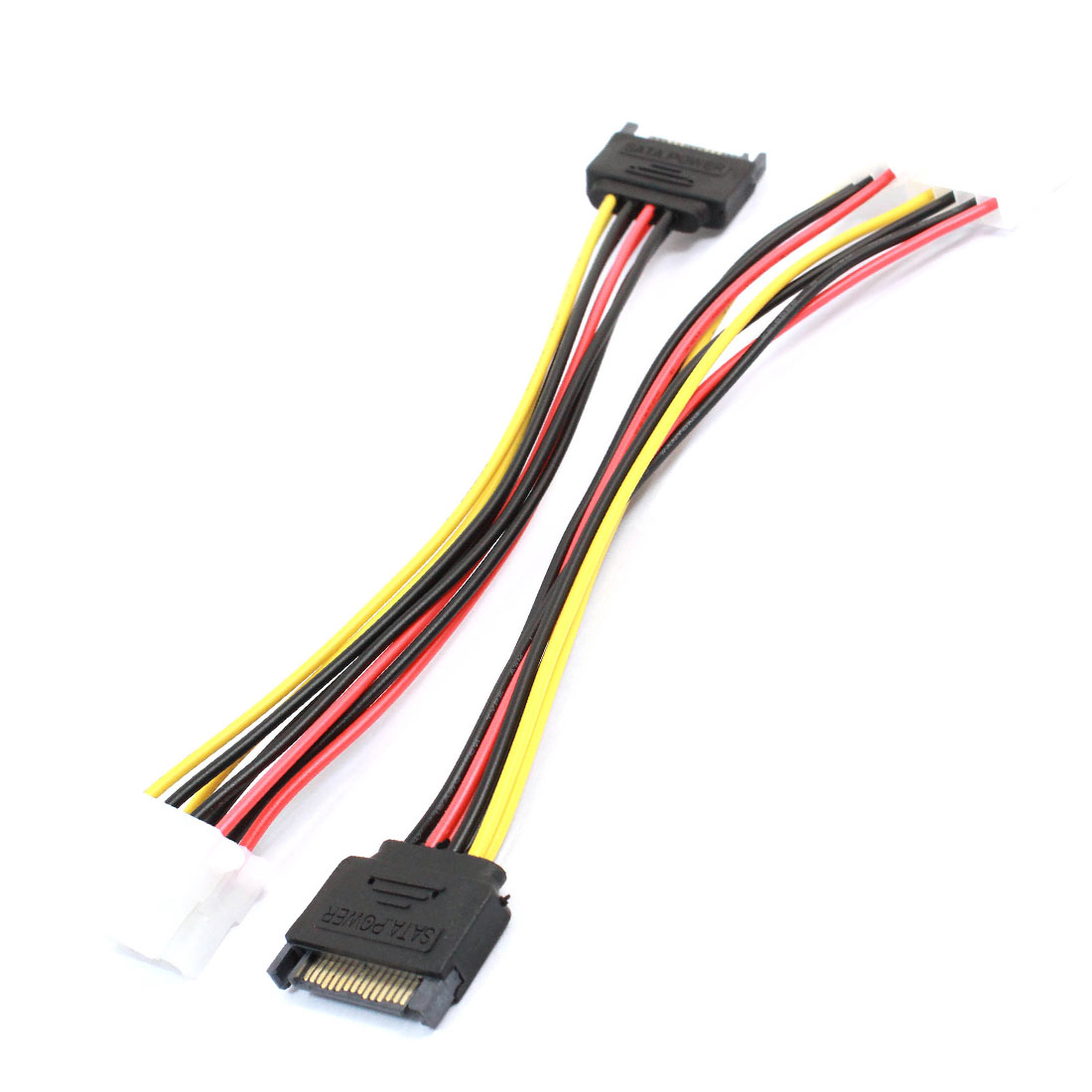 2pcs SATA Power Plug 15 Pin to Double IDE 4 Pin Splitter Connector Extention Cable 20cm