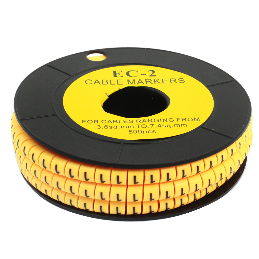 Yellow Flexible PVC Number 1 Printed 3.6sq.mm to 7.4sq.mm Wire Cable Markers Tag 500PCS