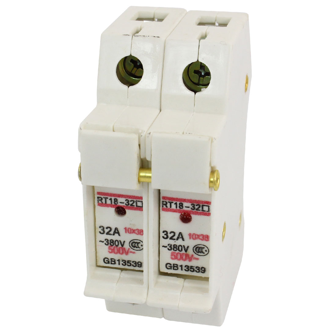 RT18-32 Model 10mm x 38mm Double Pole Fuse Holder White AC 500/380V 32A