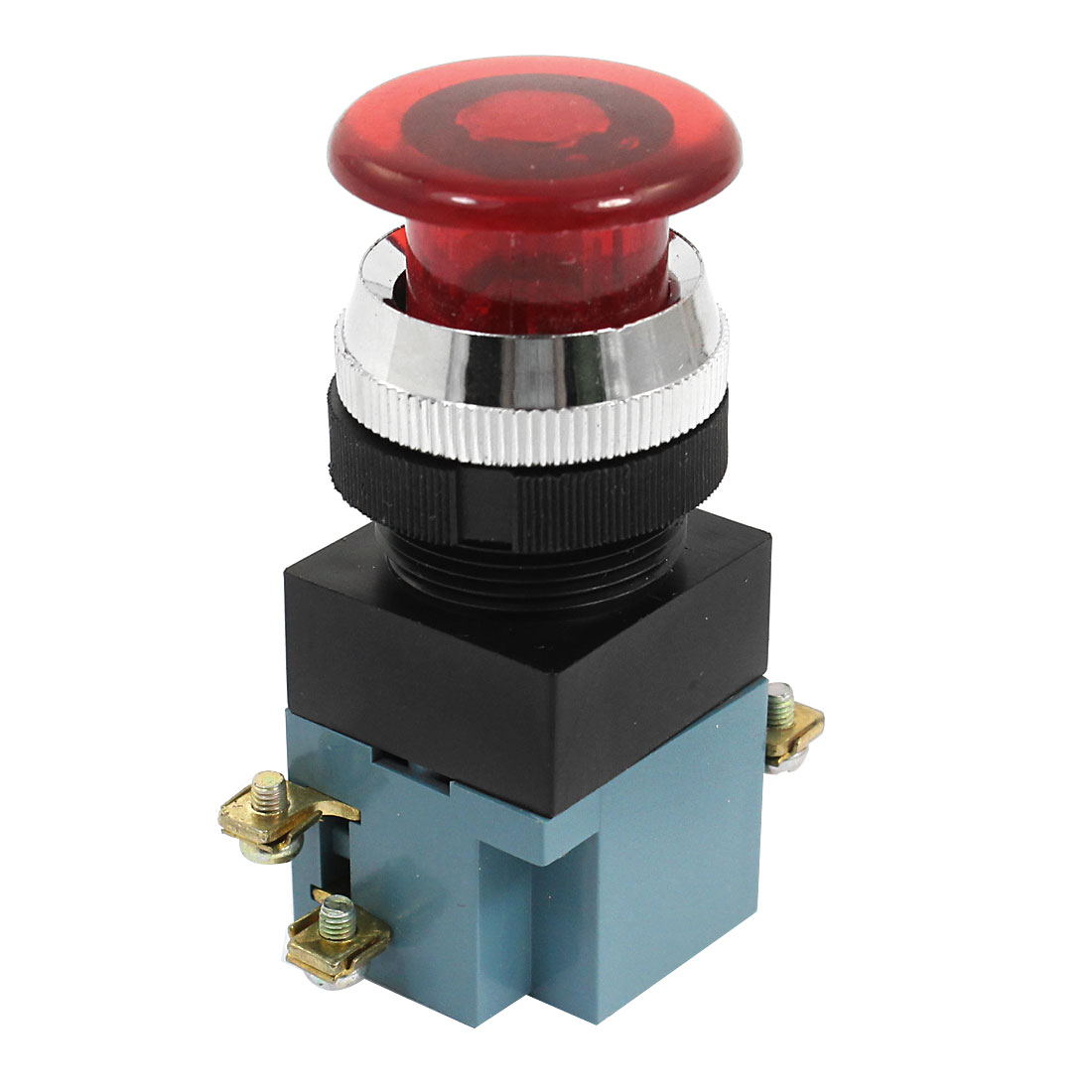 AC 380V 5A 4 Terminal Momentary Red Push Button Switch NO NC DPST
