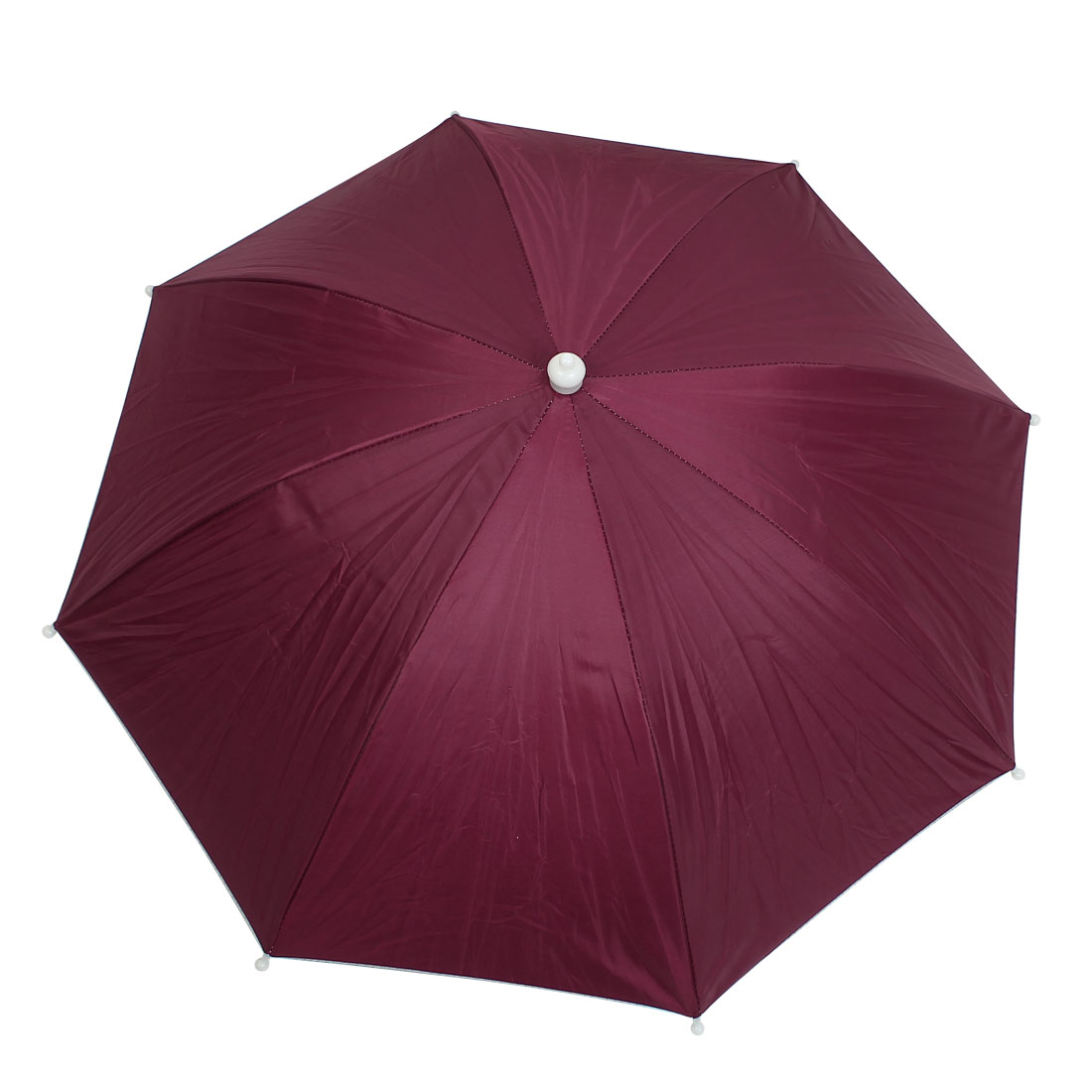 Outdoor Fishing Headwear Polyester Canopy Umbrella Hat Cap Burgundy