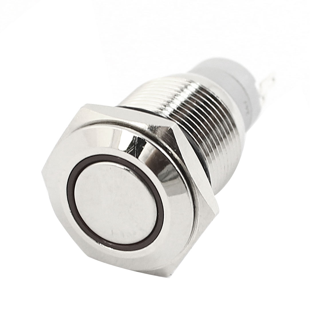 DC24V 16mm Dia Thread Panel Mount SPDT 5Pin Momentary Control Red LED Angel Eye Metal Pushbutton Switch