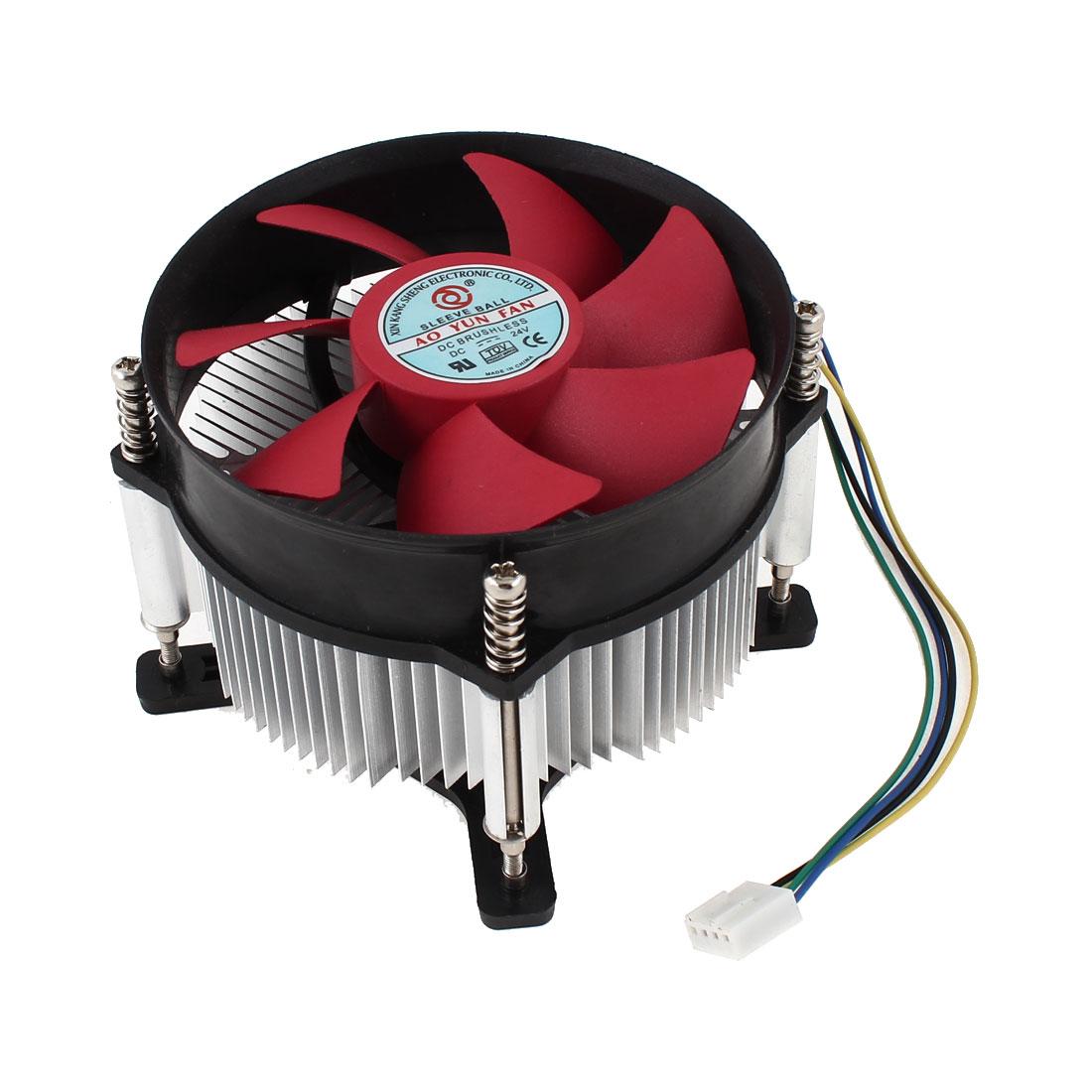 Desktop DC 12V PC 2000RPM Speed CPU Cooling Fan Cooler Heatsink Red