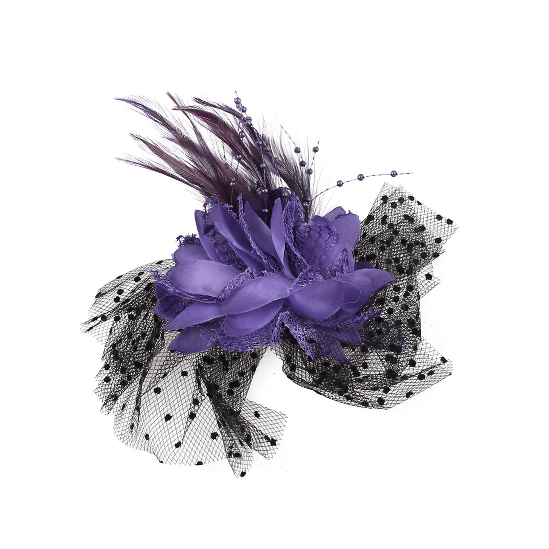 Feather Flower Decor Black Dotted Mesh Accent Hair Clip Brooch Purple