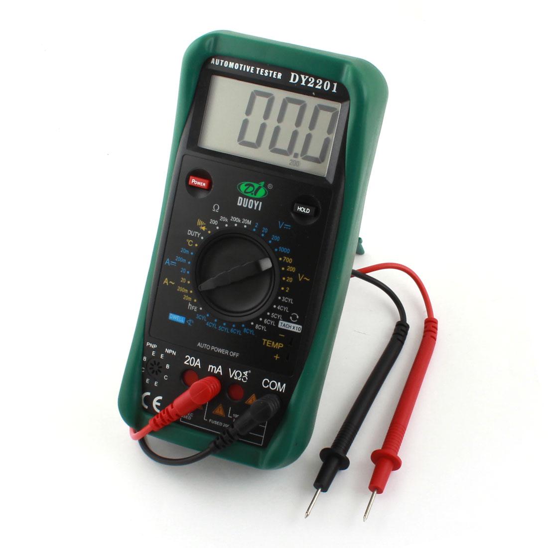 AC DC Voltmeter Ammeter Ohmmeter DY2201 Digital Multimeter Black