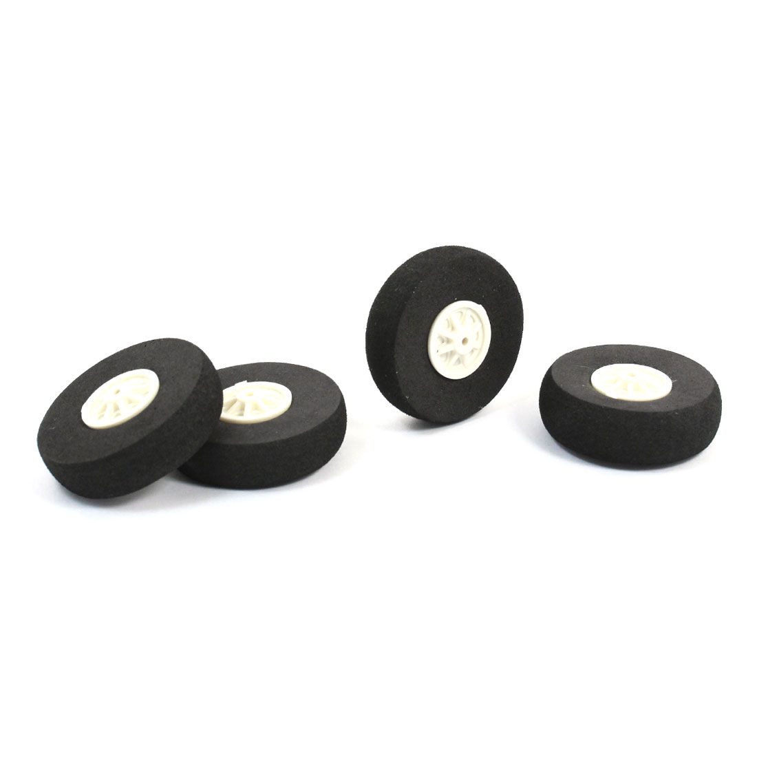 4 Pcs Black Foam Wheel 40mm Dia Spare Part for RC Aircraft Model Toy