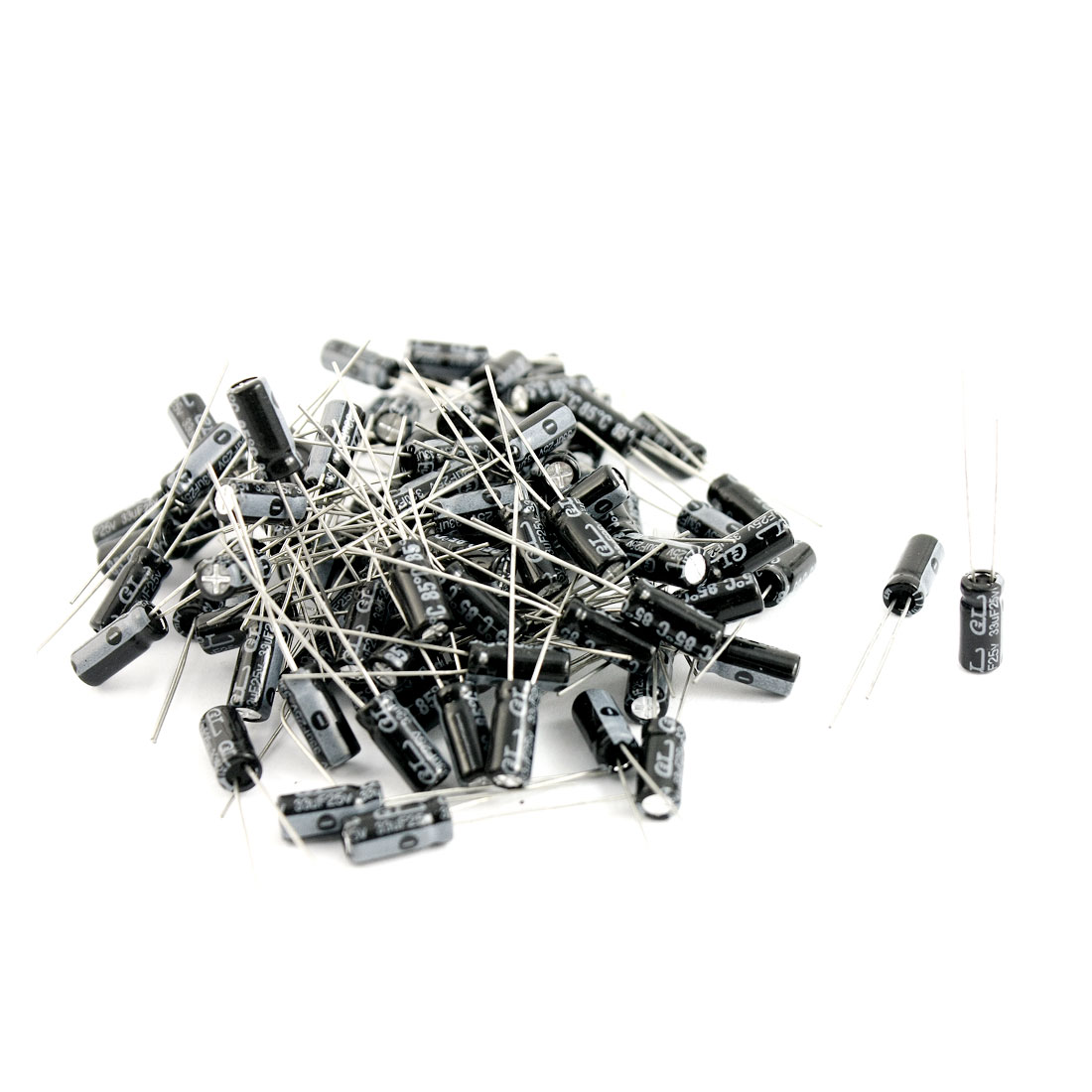90 Pcs 33uF 25V 85C Radial Electrolytic Capacitors Black 5x11mm